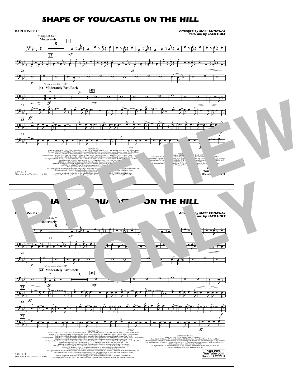 Shape Of You/Castle On The Hill - Baritone B.C. (Marching Band)
