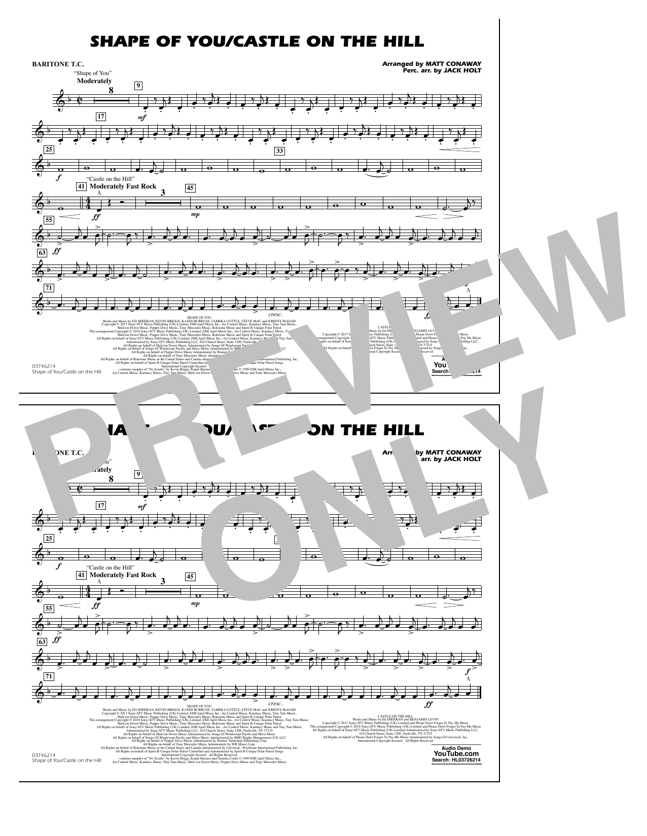 Shape Of You/Castle On The Hill - Baritone T.C. (Marching Band)