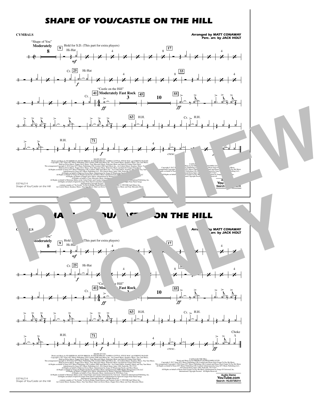 Shape Of You/Castle On The Hill - Cymbals (Marching Band)