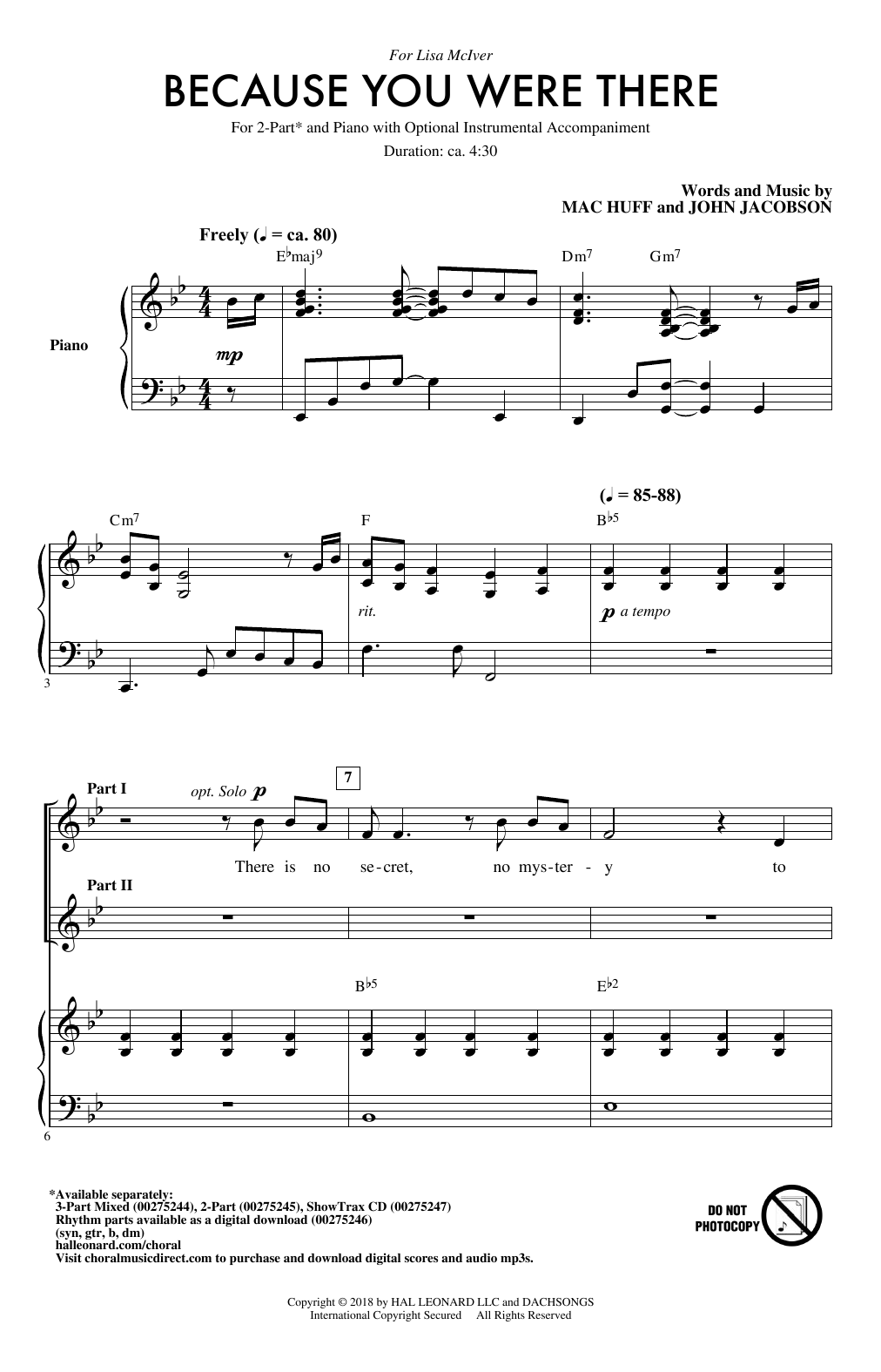 Because You Were There Sheet Music