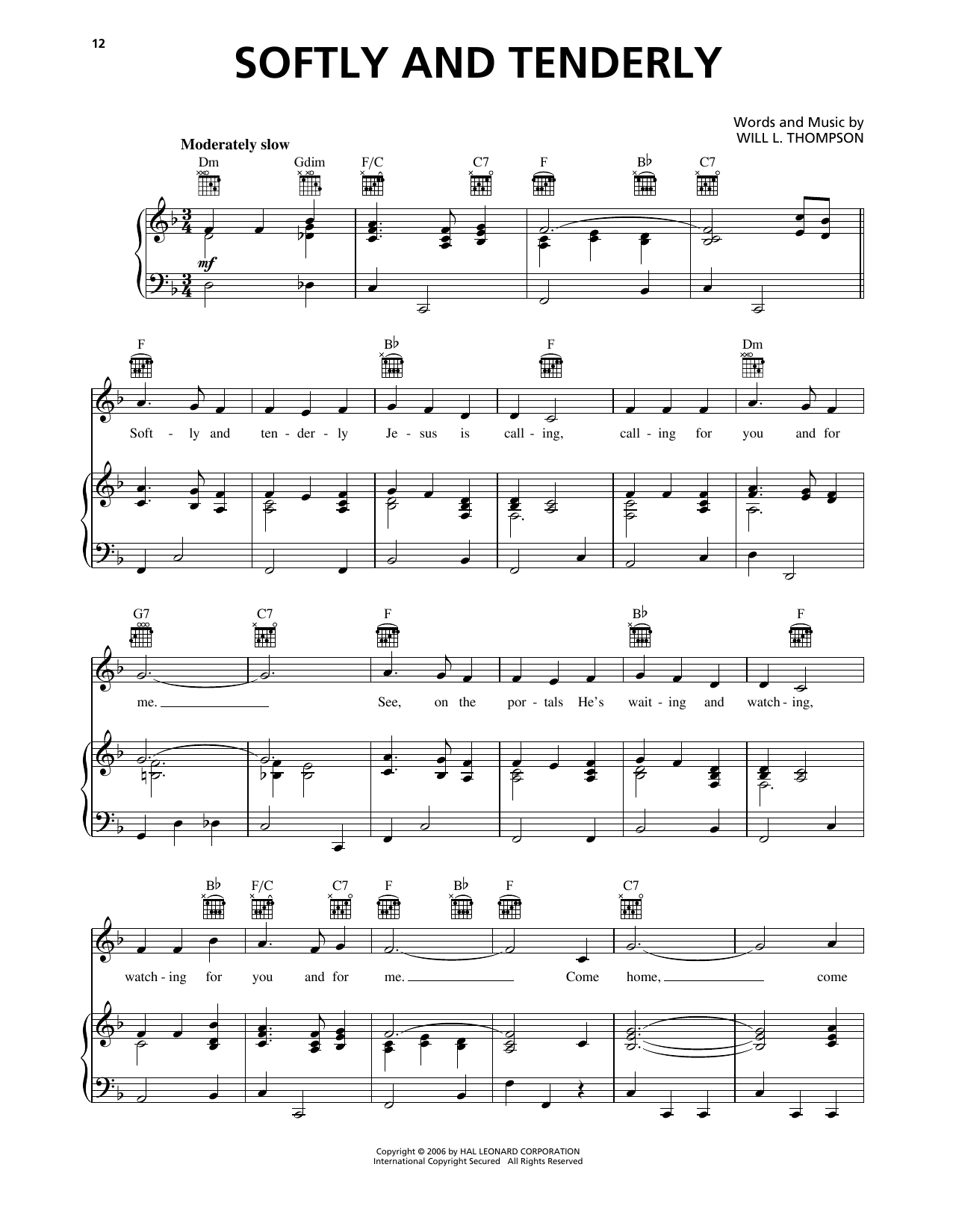Softly And Tenderly Sheet Music