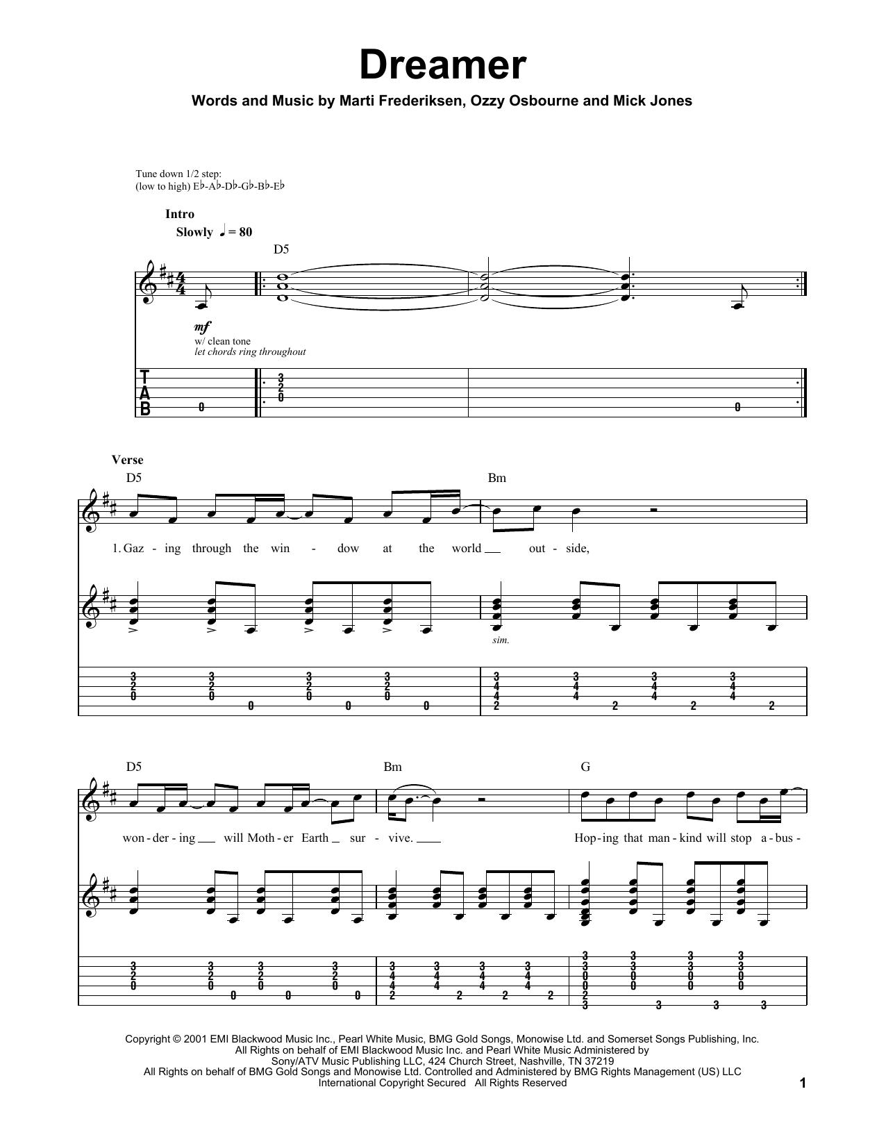 Dreamer (Guitar Tab (Single Guitar))