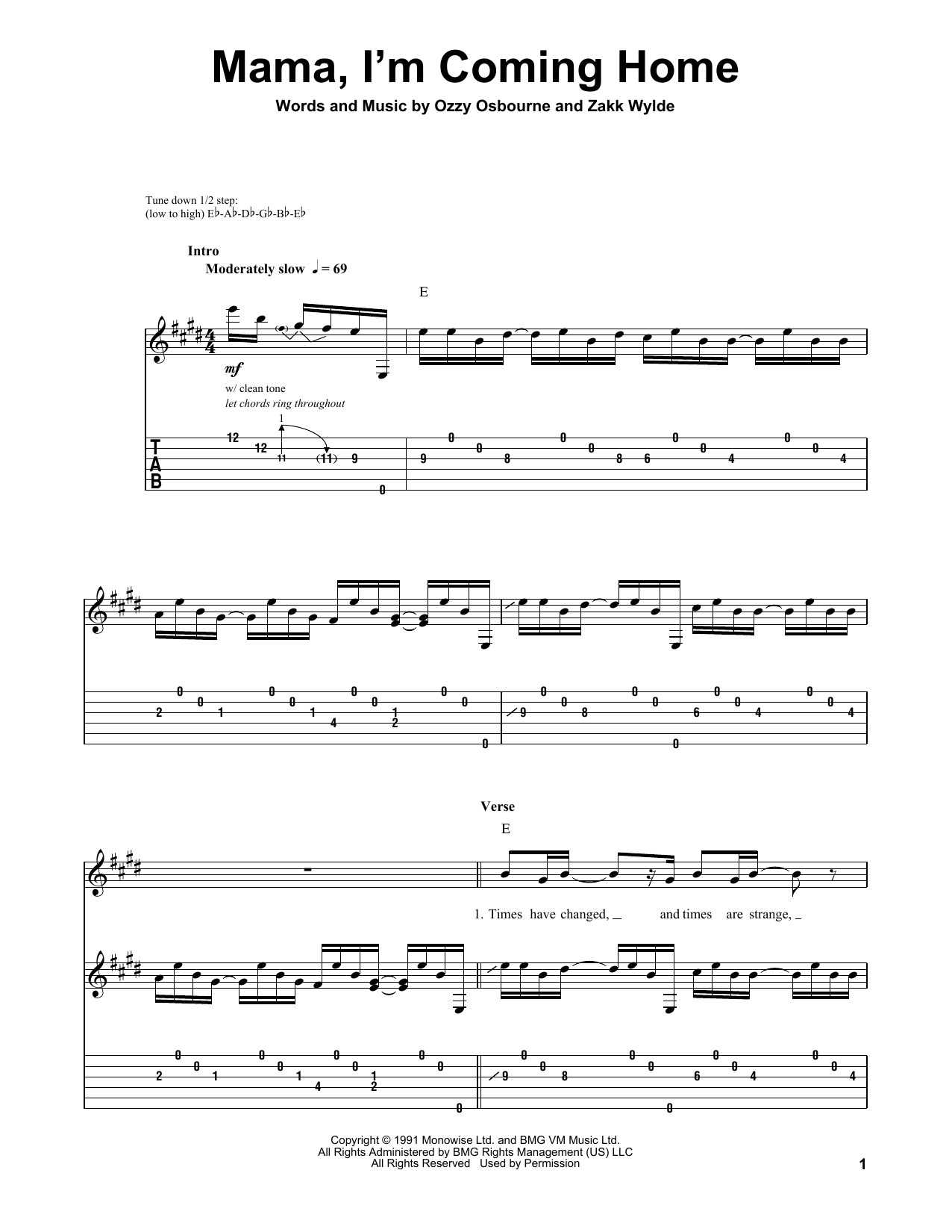 Mama, I'm Coming Home (Guitar Tab (Single Guitar))