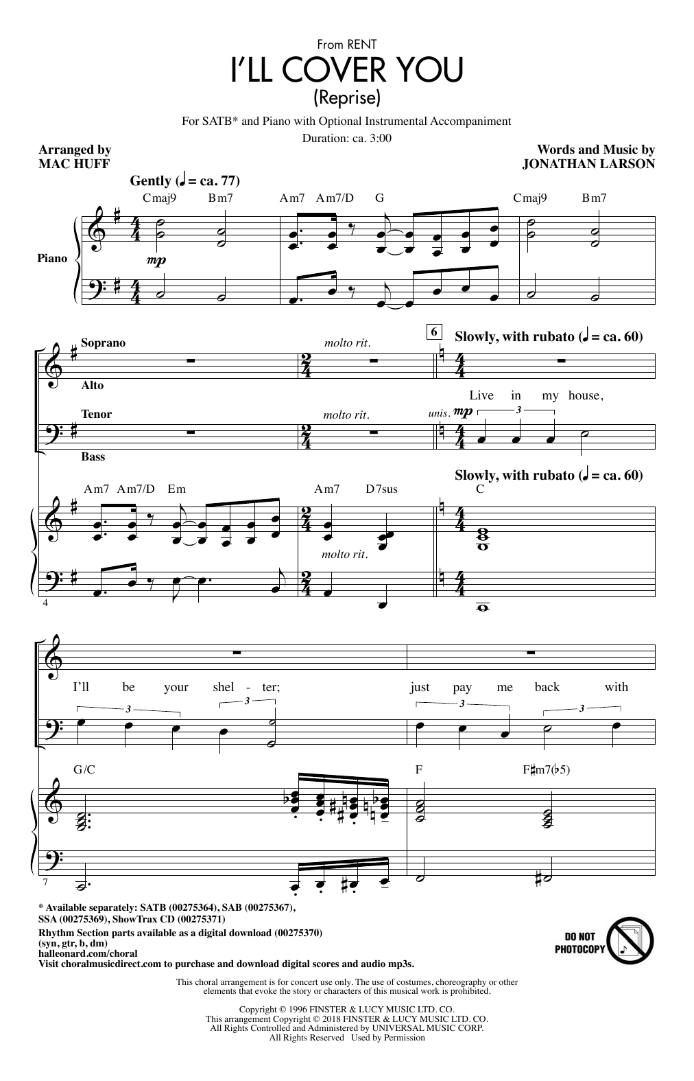 I'll Cover You (Reprise) Sheet Music