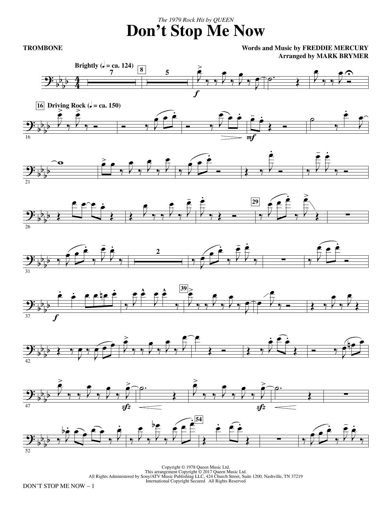 Don't Stop Me Now (arr. Mark Brymer) - Trombone (Choir Instrumental Pak)