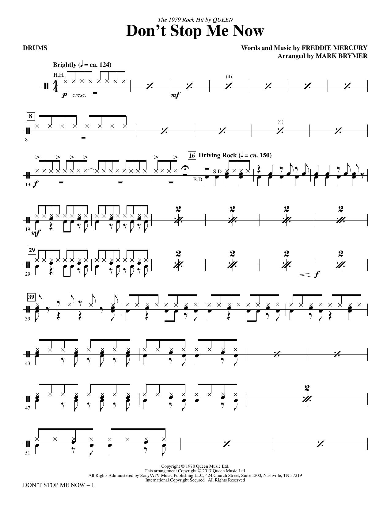 Don't Stop Me Now (arr. Mark Brymer) - Drums (Choir Instrumental Pak)