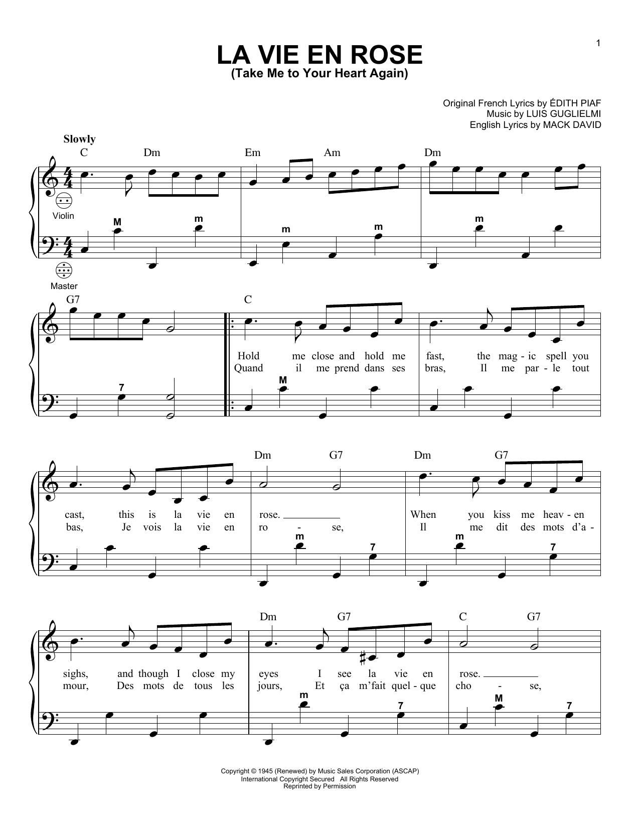 La Vie En Rose (Take Me To Your Heart Again) (Accordion)