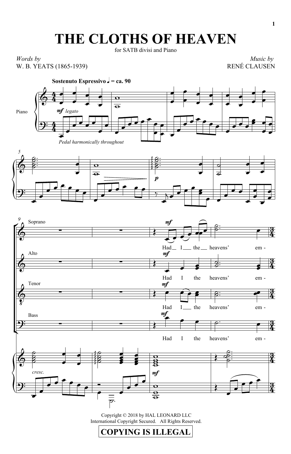 The Cloths Of Heaven (SATB Choir)