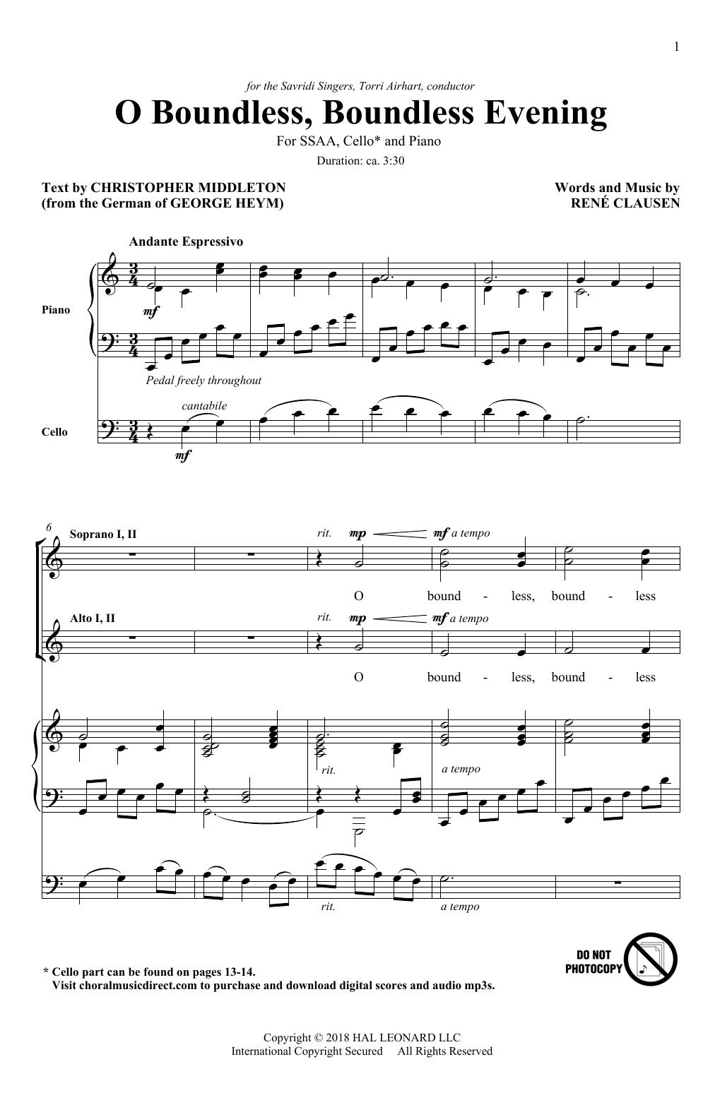 O Boundless, Boundless Evening (SSA Choir)