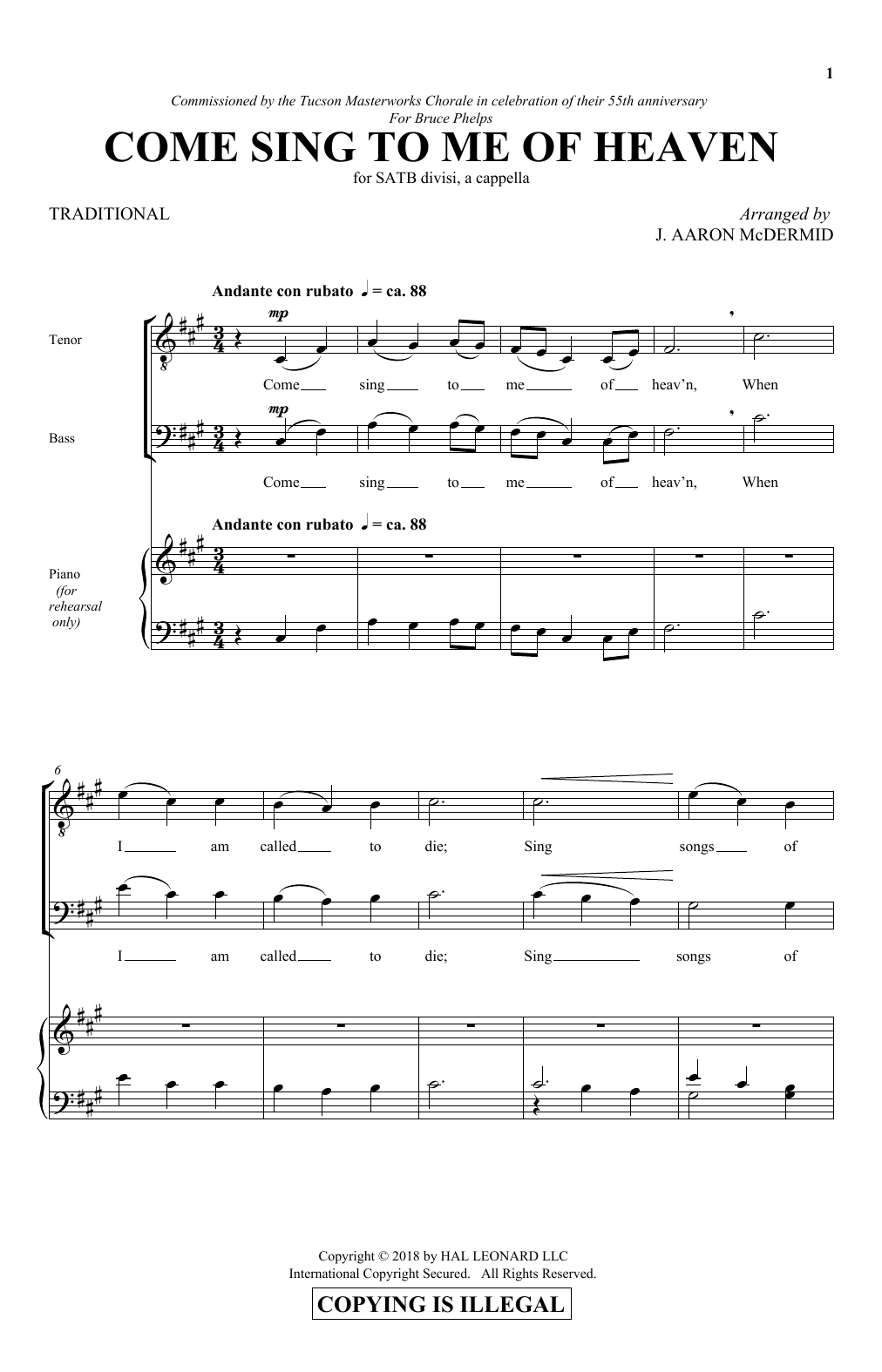 Come Sing To Me Of Heaven Sheet Music