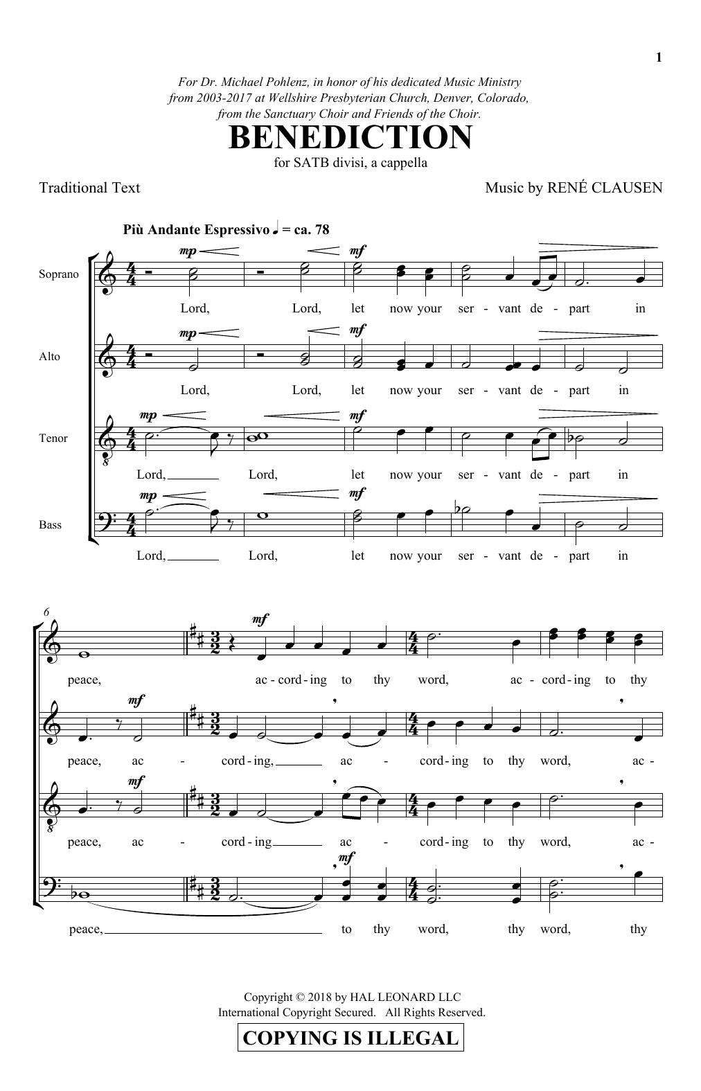 Benediction (SATB Choir)