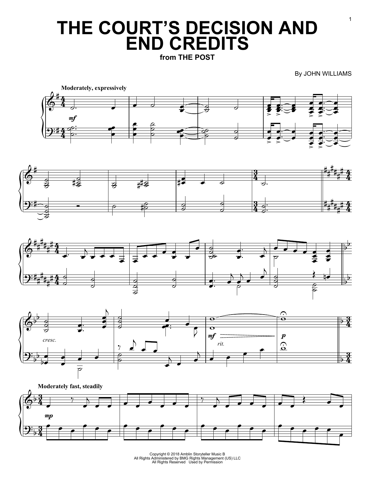 The Court's Decision And End Credits (from The Post) (Piano Solo)