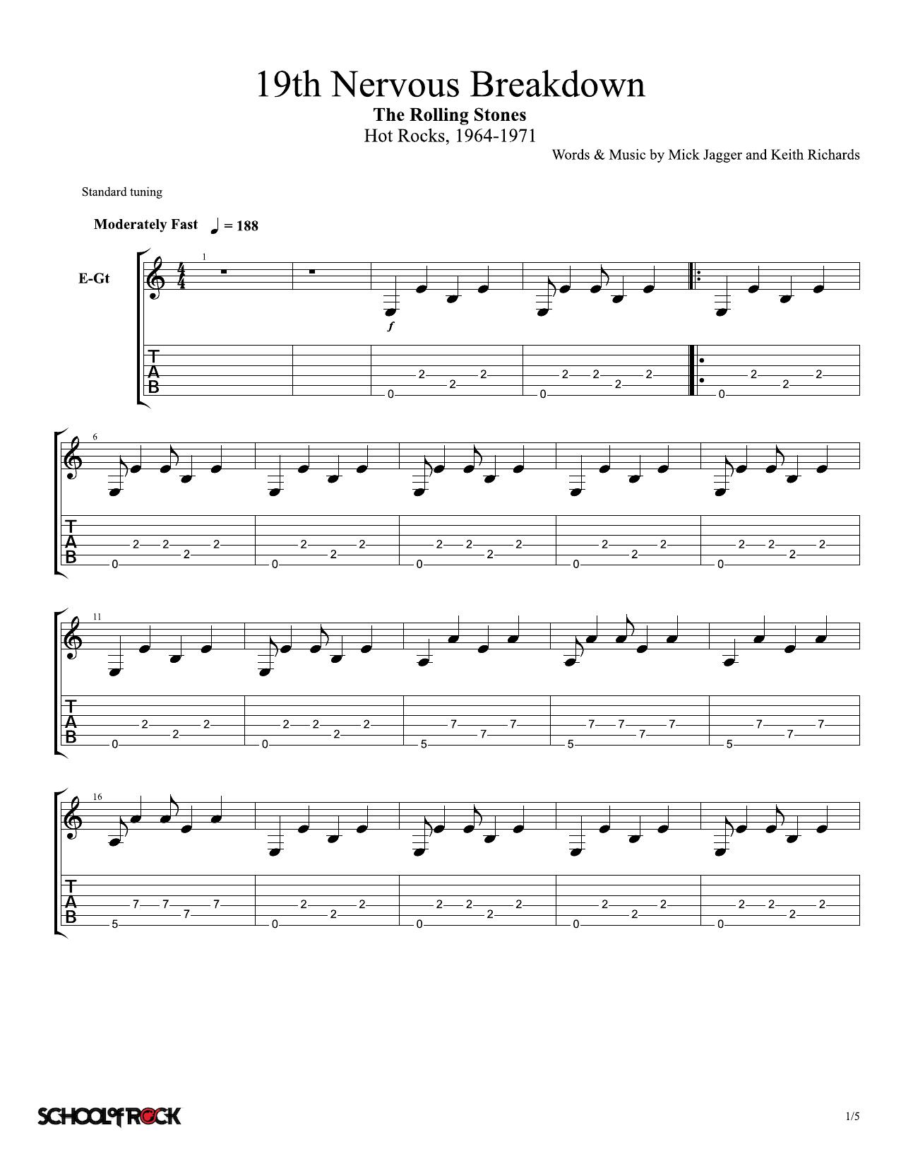 19th Nervous Breakdown by Rolling Stones School of Rock – Rhythm Guitar Tab  Digital Sheet Music