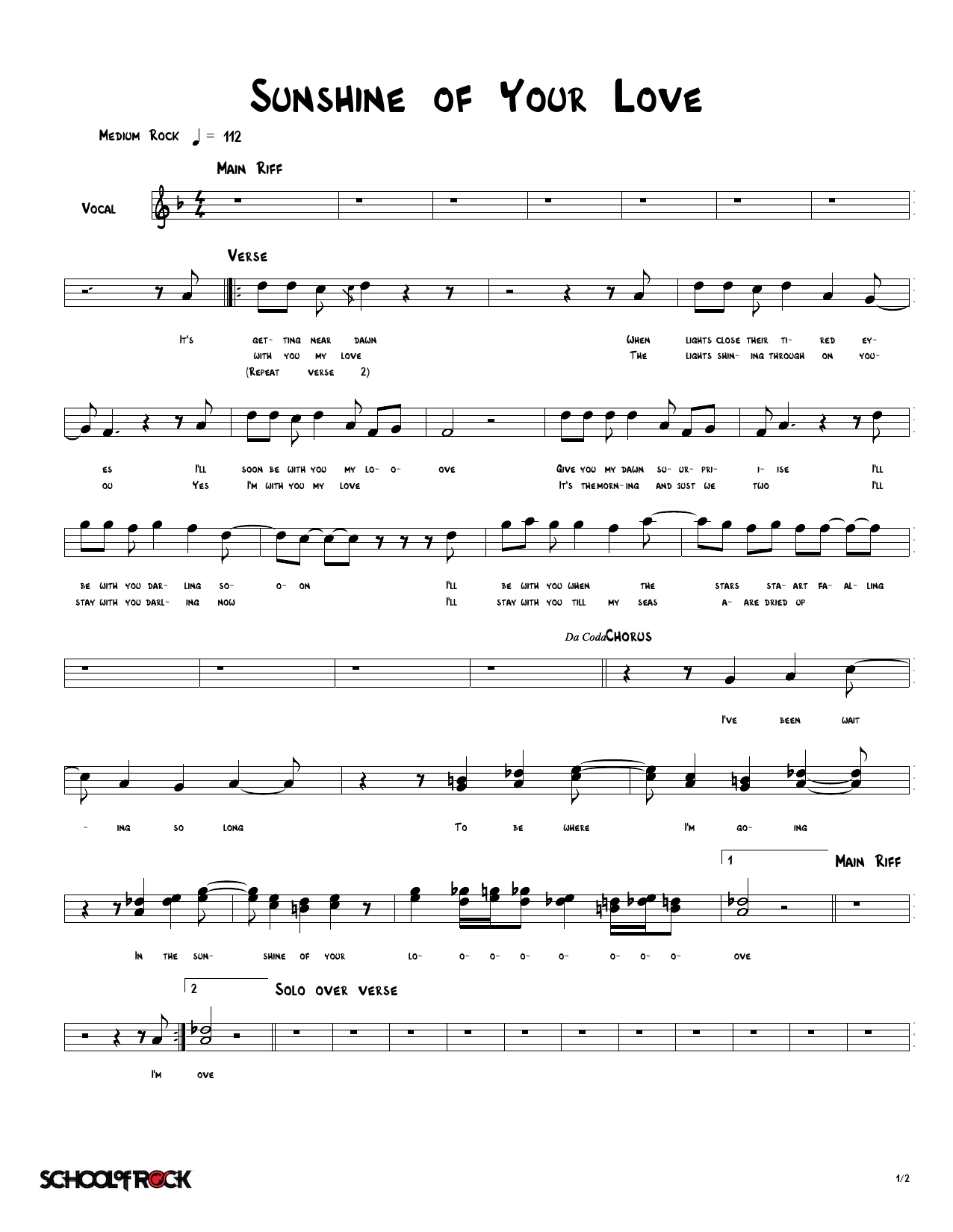 Sunshine Of Your Love Sheet Music