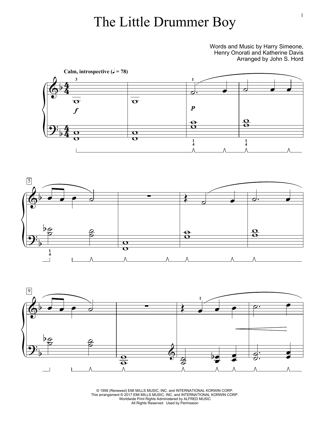 The Little Drummer Boy (Educational Piano)