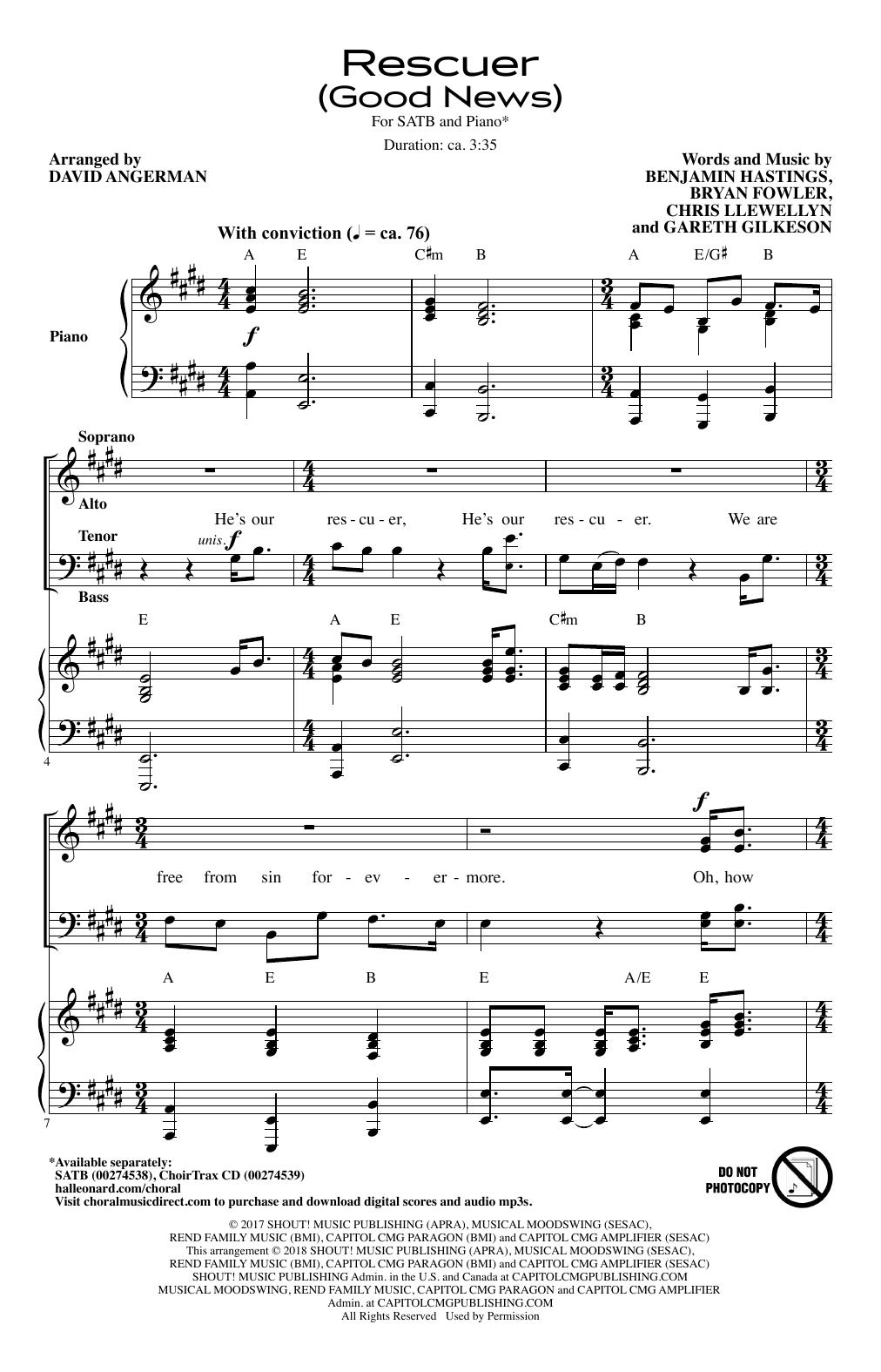 Rescuer (Good News) (arr. David Angerman) (SATB Choir)