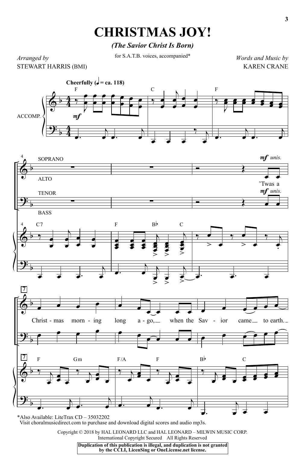 Christmas Joy! (The Savior Christ Is Born) (arr. Stewart Harris) (SATB Choir)