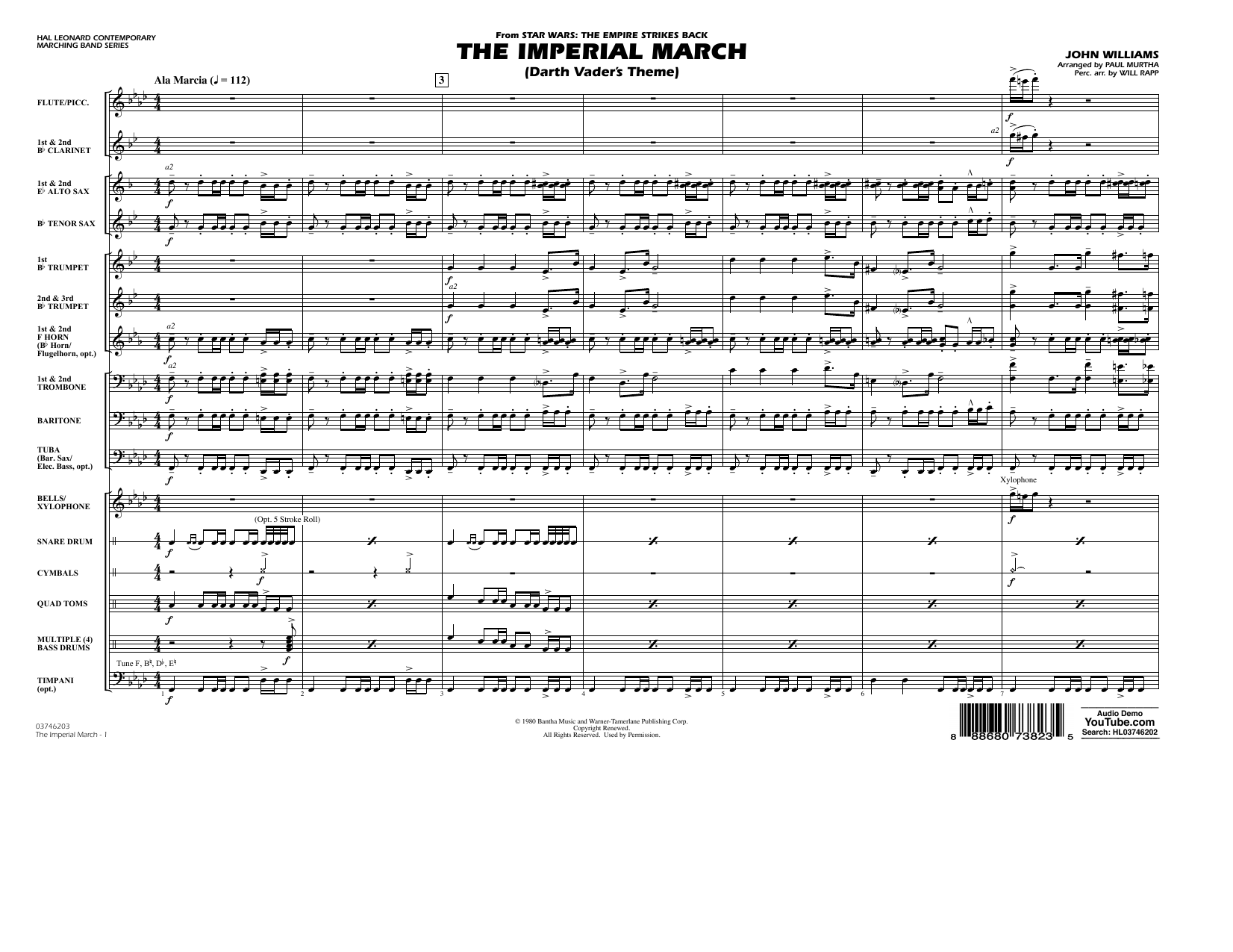 The Imperial March (Darth Vader's Theme) - Conductor Score (Full Score) (Marching Band)