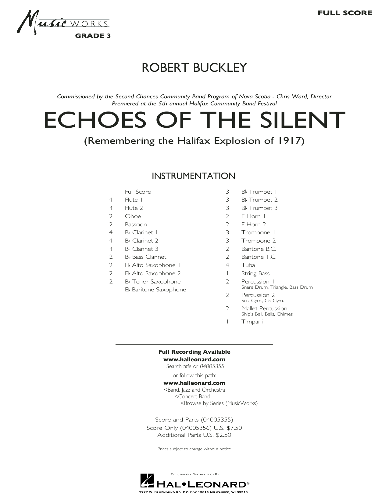 Echoes of the Silent - Conductor Score (Full Score) (Concert Band)