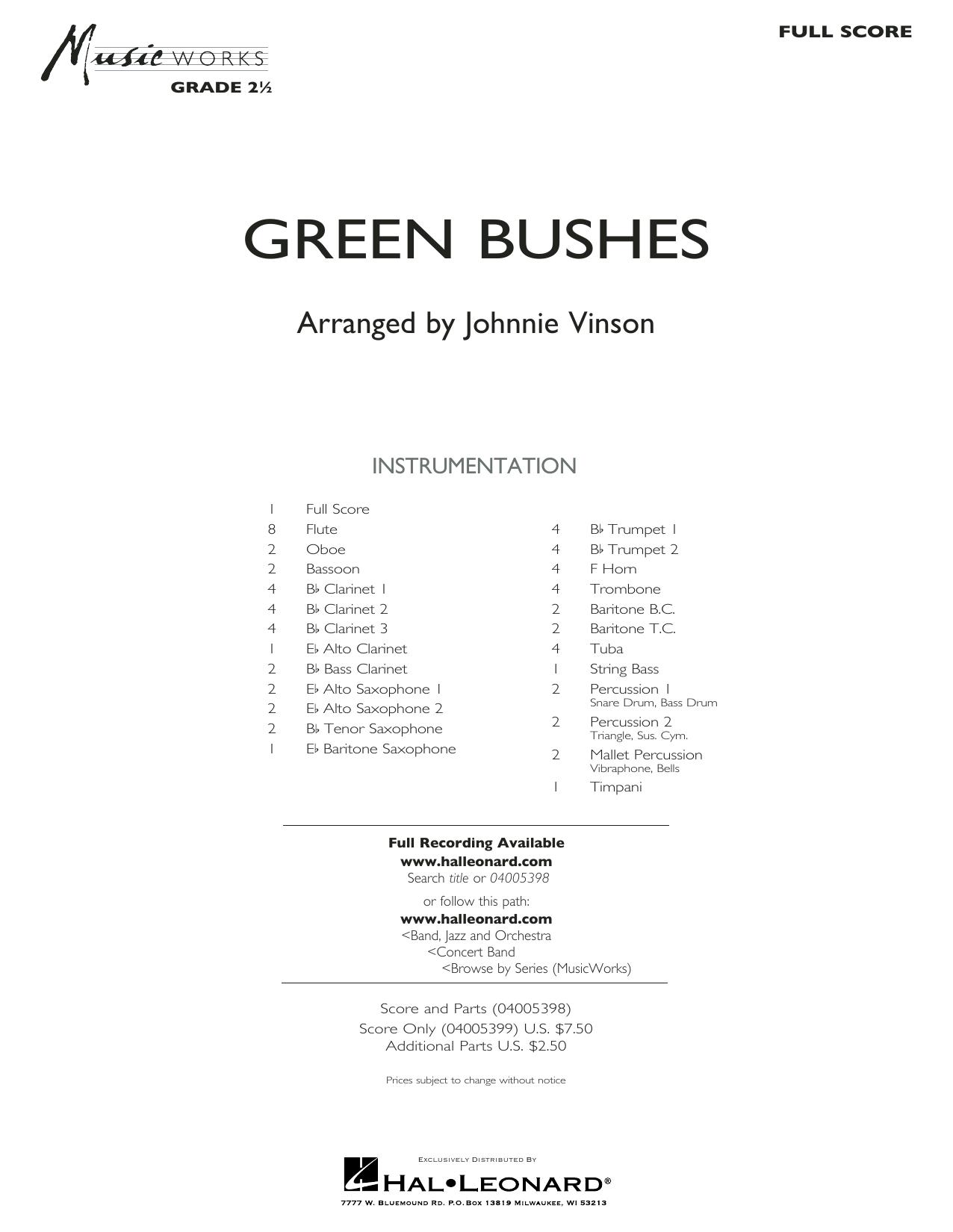 Green Bushes - Full Score (Concert Band)