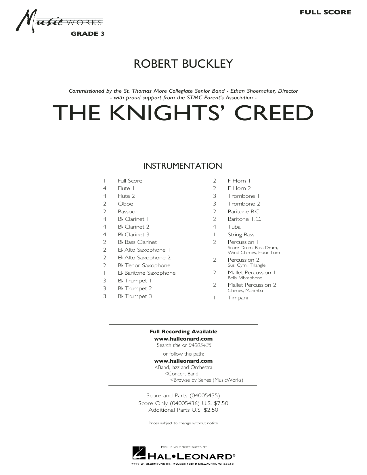 The Knights' Creed - Conductor Score (Full Score) (Concert Band)