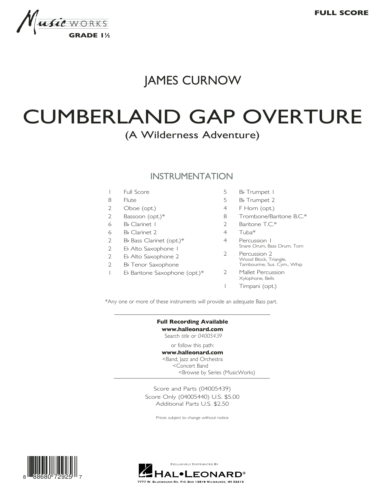 Cumberland Gap Overture (A Wilderness Adventure) - Conductor Score (Full Score) (Concert Band)