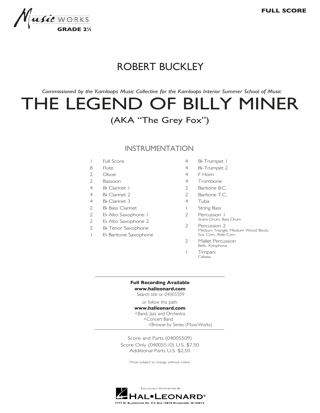 The Legend of Billy Miner - Full Score (Concert Band)