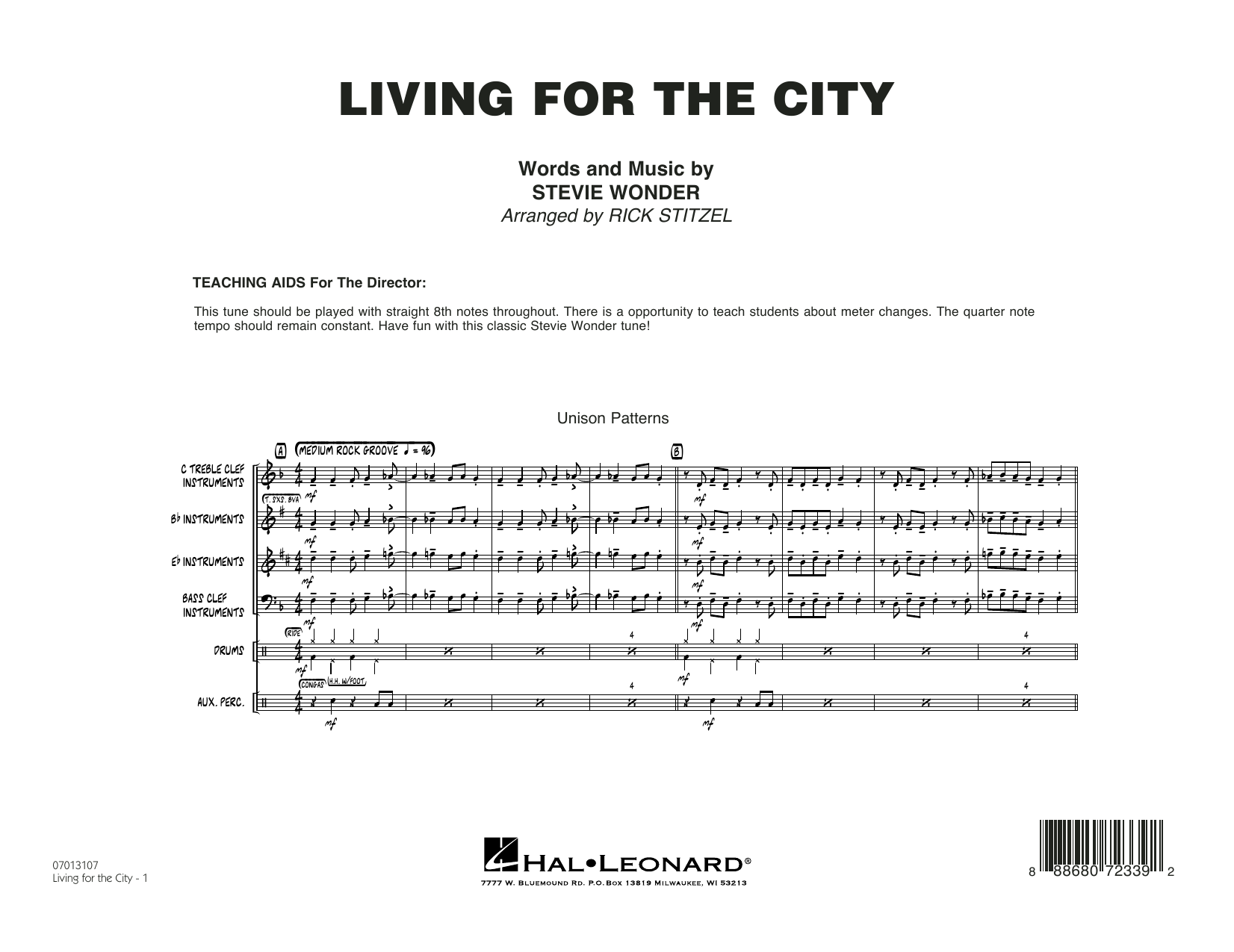 Living for the City - Conductor Score (Full Score) (Jazz Ensemble)
