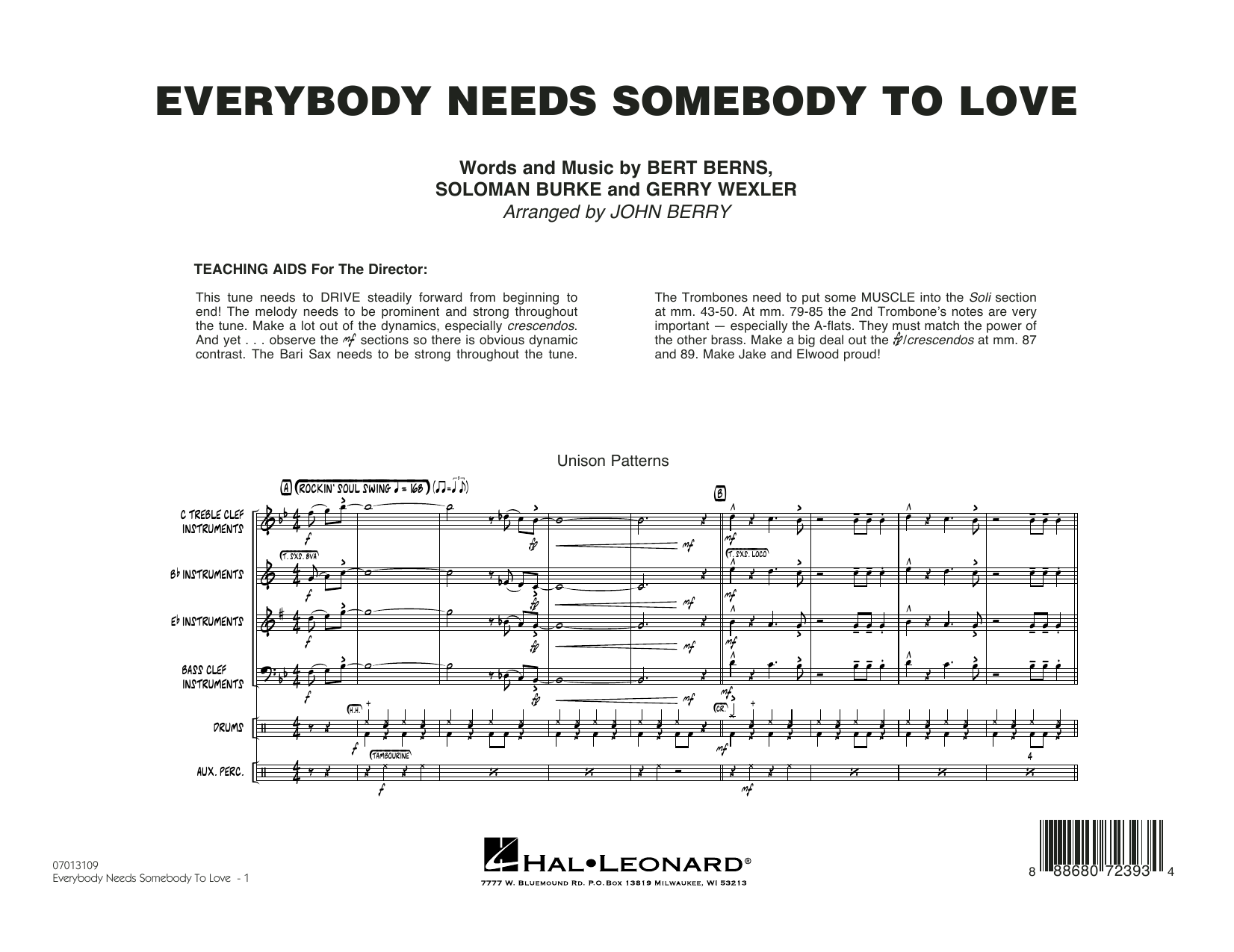 Everybody Needs Somebody to Love - Conductor Score (Full Score) Partituras Digitales