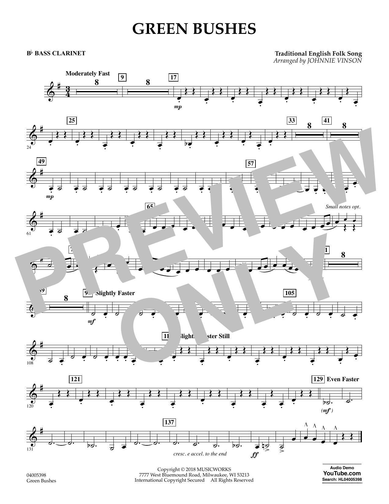 Green Bushes - Bb Bass Clarinet (Concert Band)