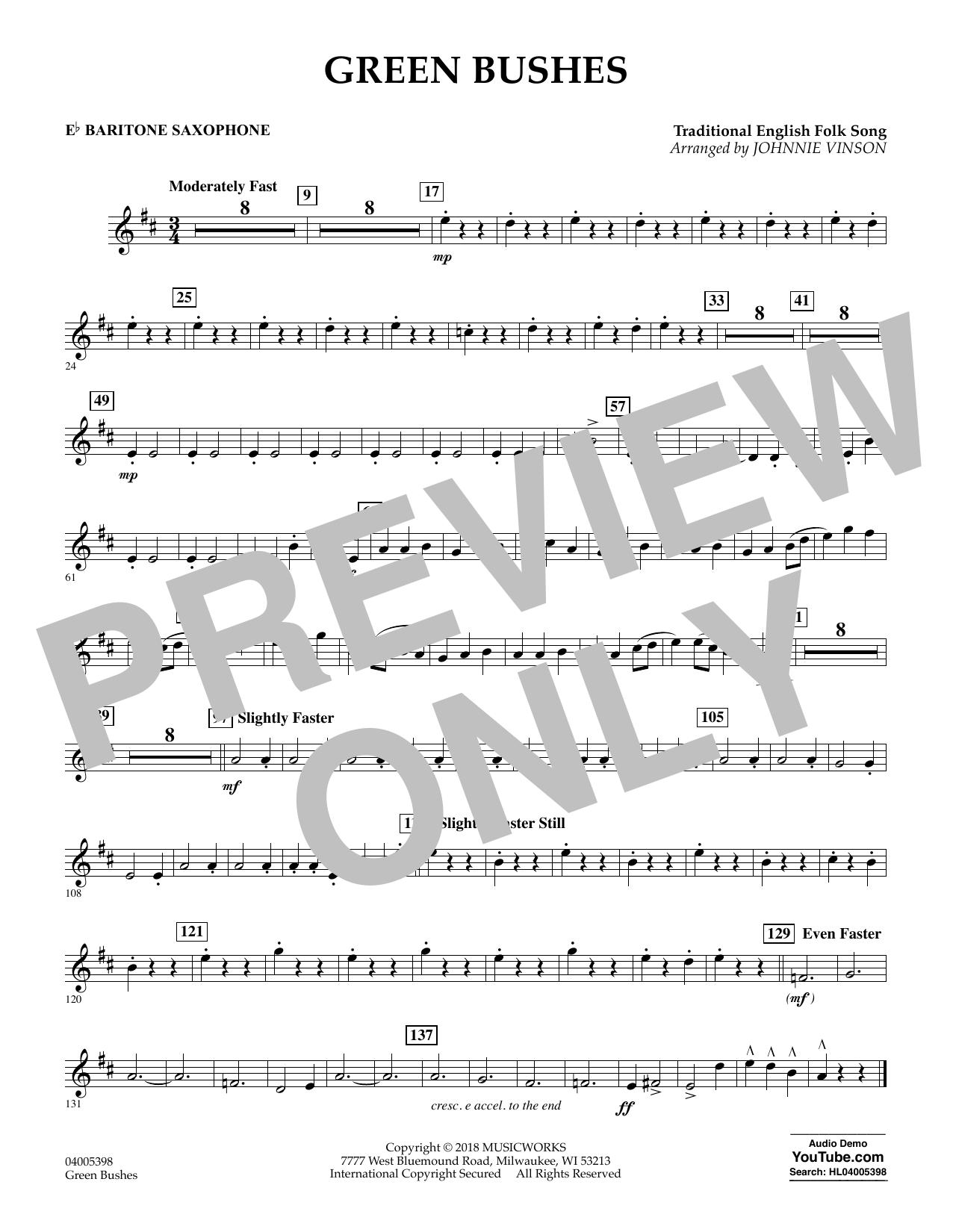 Green Bushes - Eb Baritone Saxophone (Concert Band)