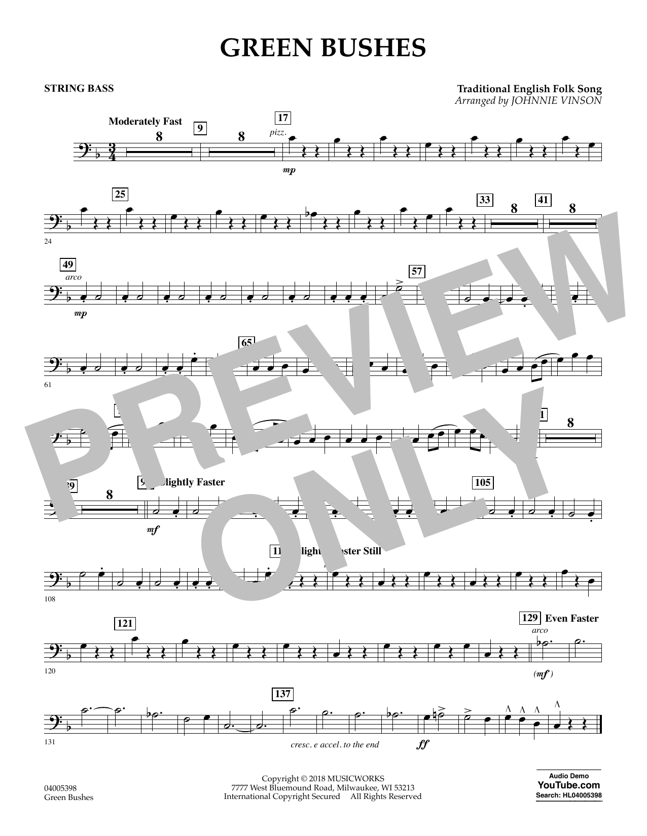 Green Bushes - String Bass (Concert Band)