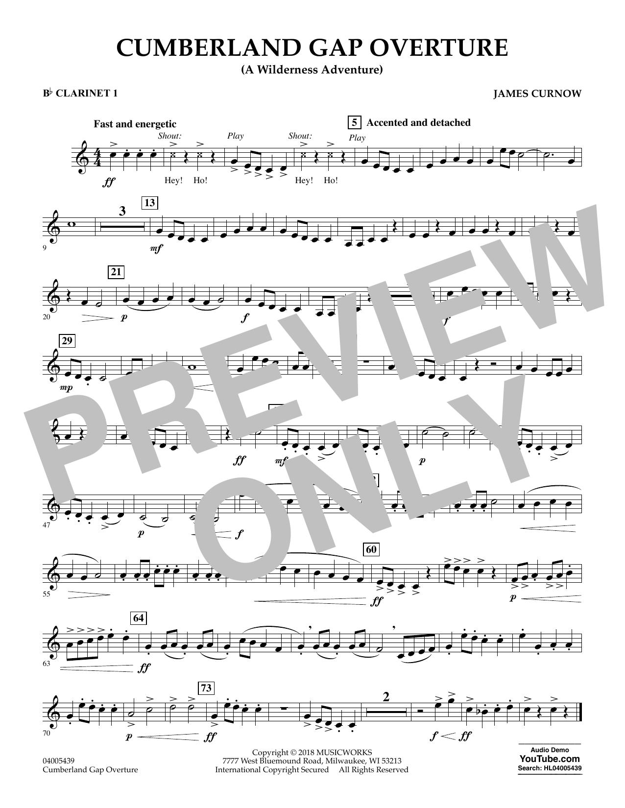 Cumberland Gap Overture (A Wilderness Adventure) - Bb Clarinet 1 (Concert Band)