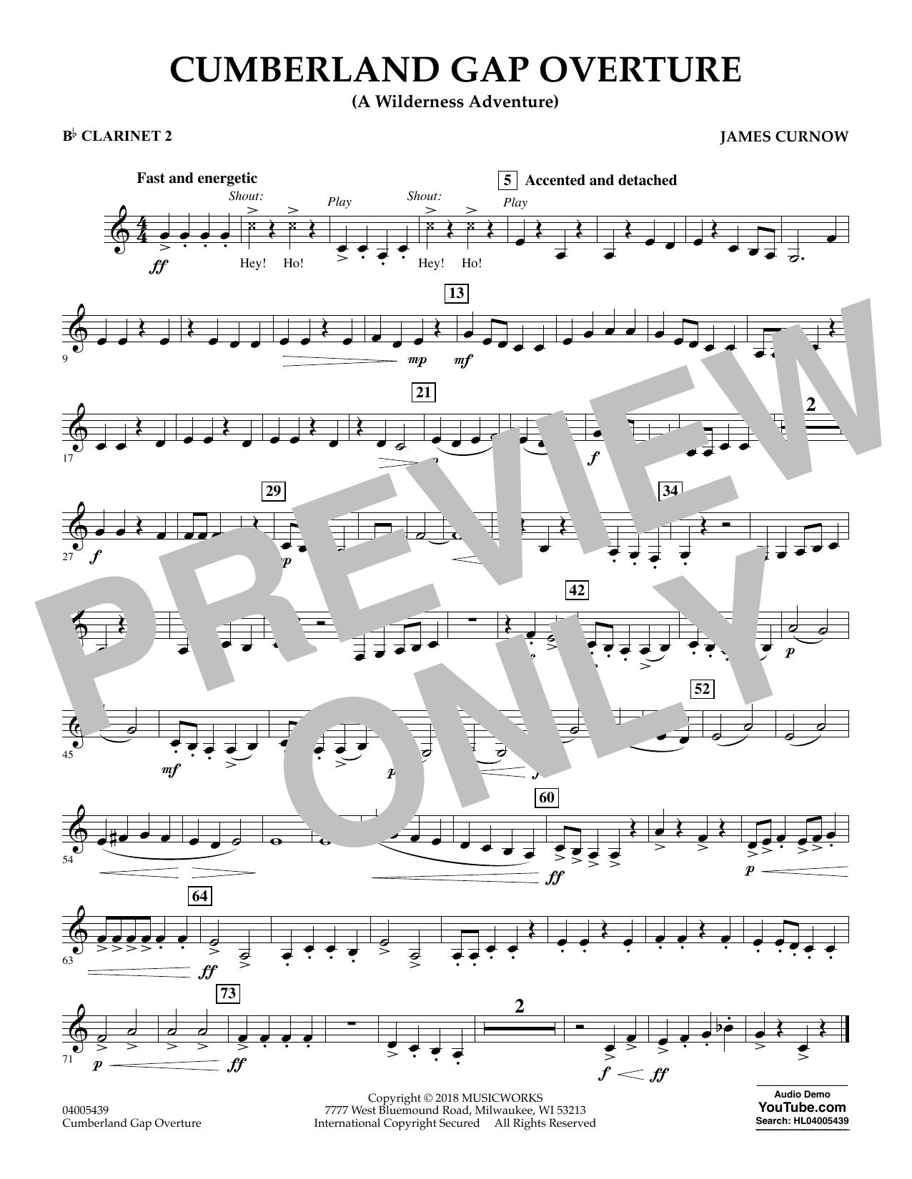 Cumberland Gap Overture (A Wilderness Adventure) - Bb Clarinet 2 (Concert Band)