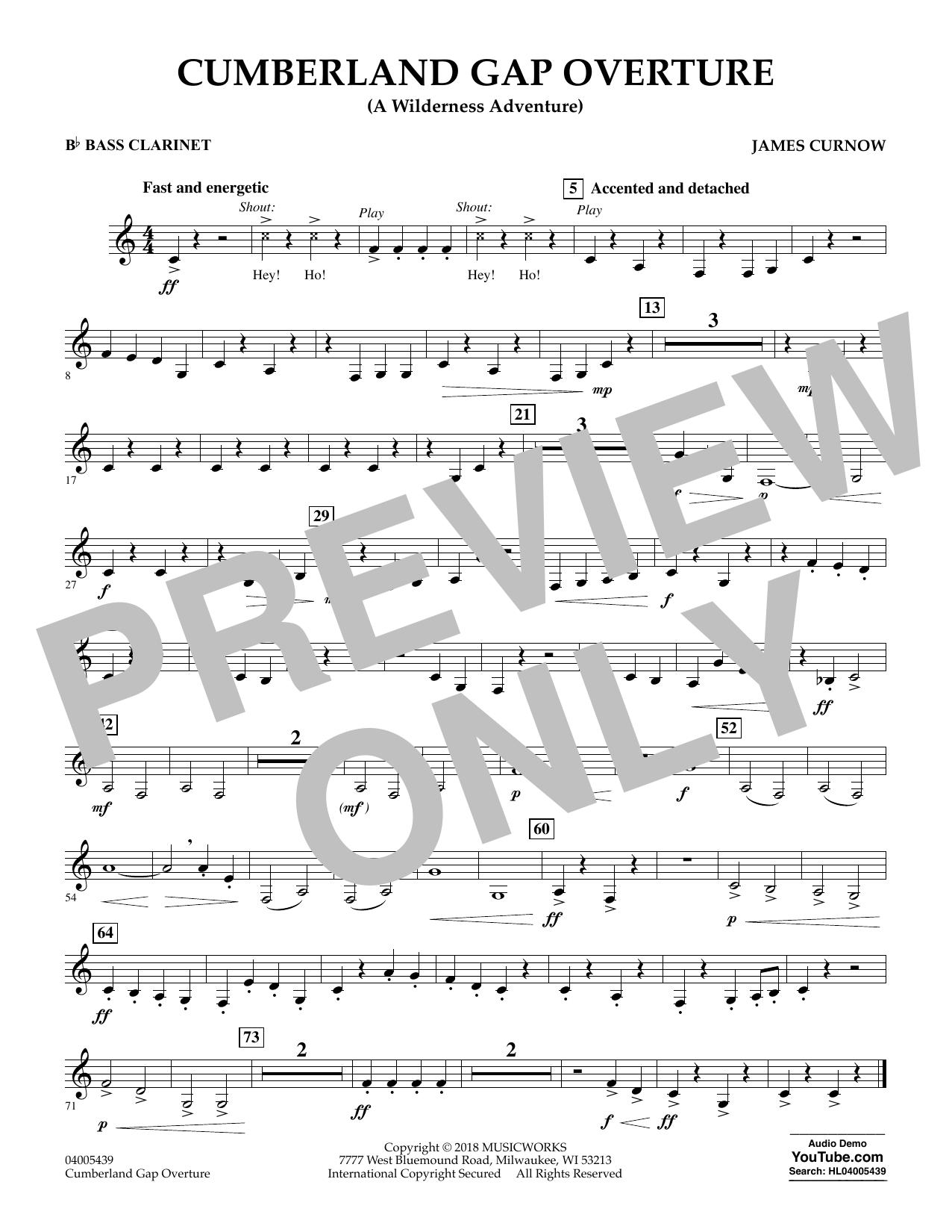 Cumberland Gap Overture (A Wilderness Adventure) - Bb Bass Clarinet (Concert Band)