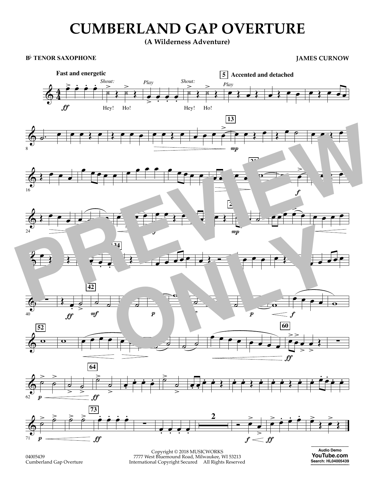 Cumberland Gap Overture (A Wilderness Adventure) - Bb Tenor Saxophone (Concert Band)