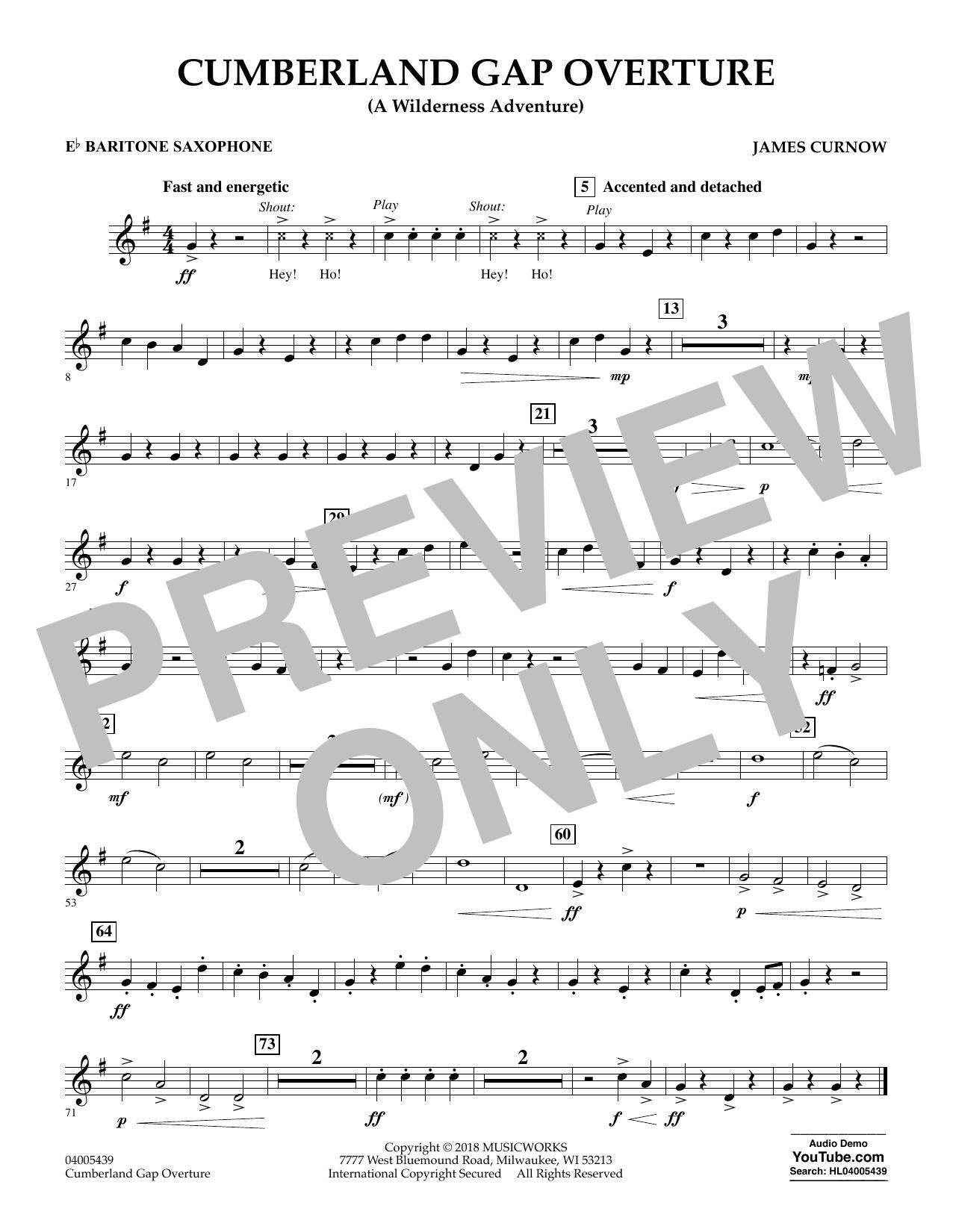 Cumberland Gap Overture (A Wilderness Adventure) - Eb Baritone Saxophone (Concert Band)