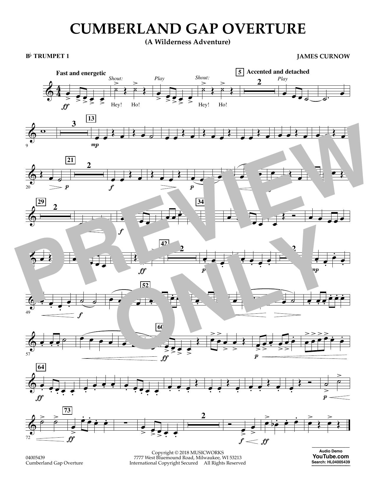 Cumberland Gap Overture (A Wilderness Adventure) - Bb Trumpet 1 (Concert Band)