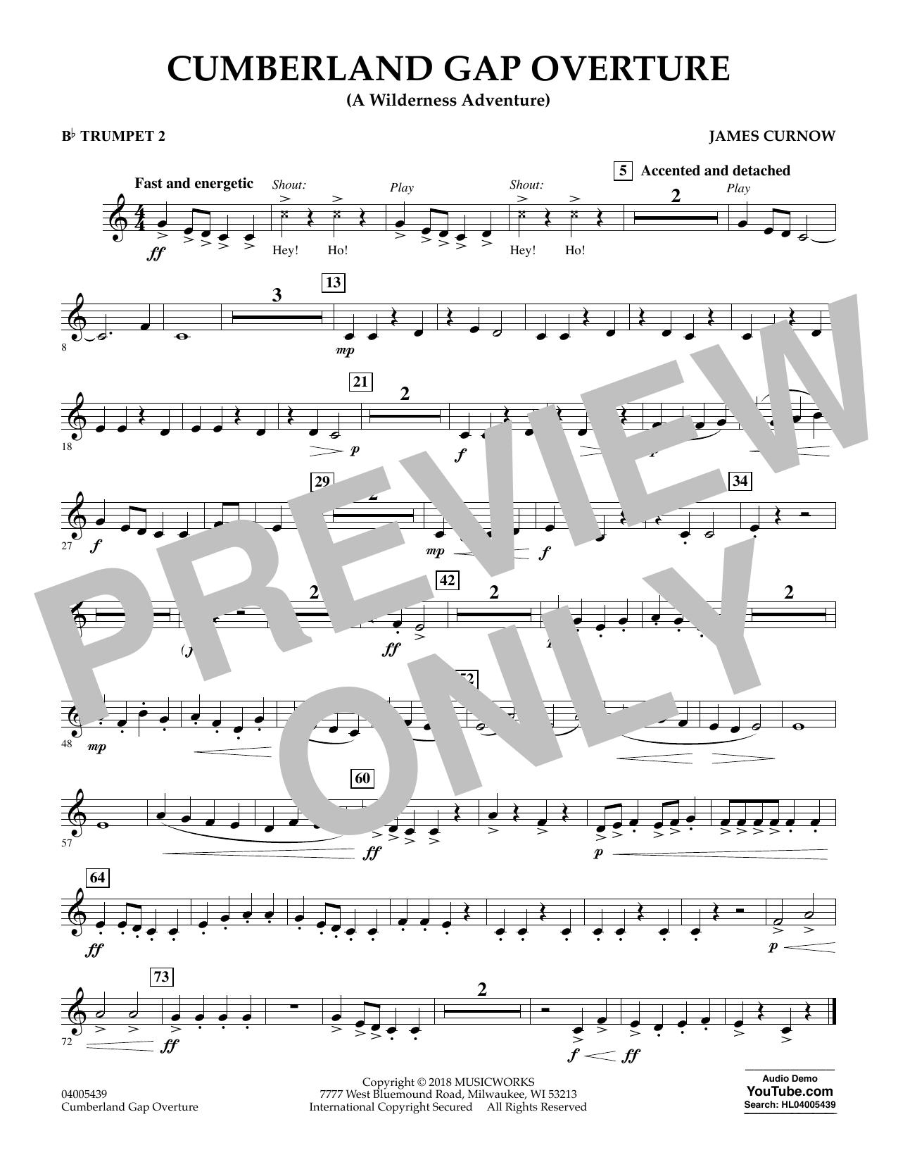 Cumberland Gap Overture (A Wilderness Adventure) - Bb Trumpet 2 (Concert Band)