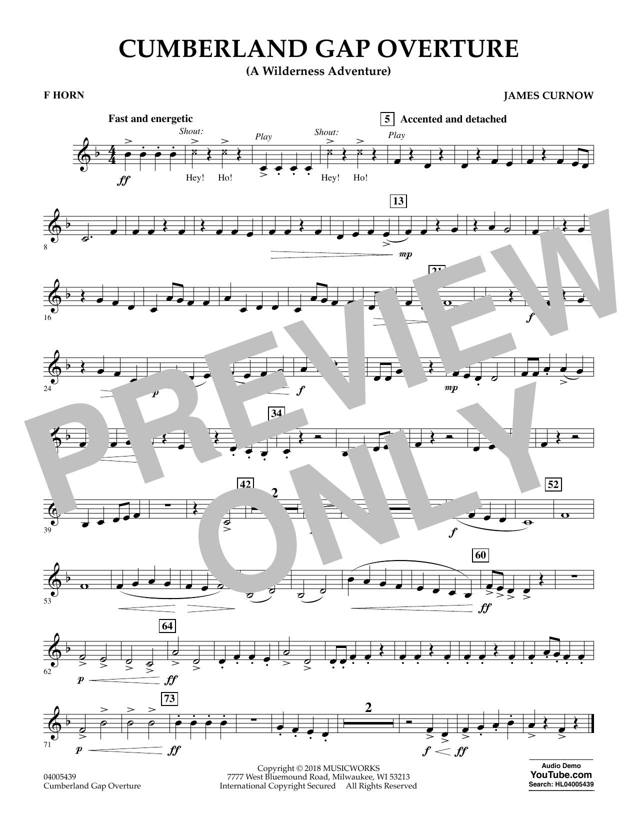Cumberland Gap Overture (A Wilderness Adventure) - F Horn (Concert Band)