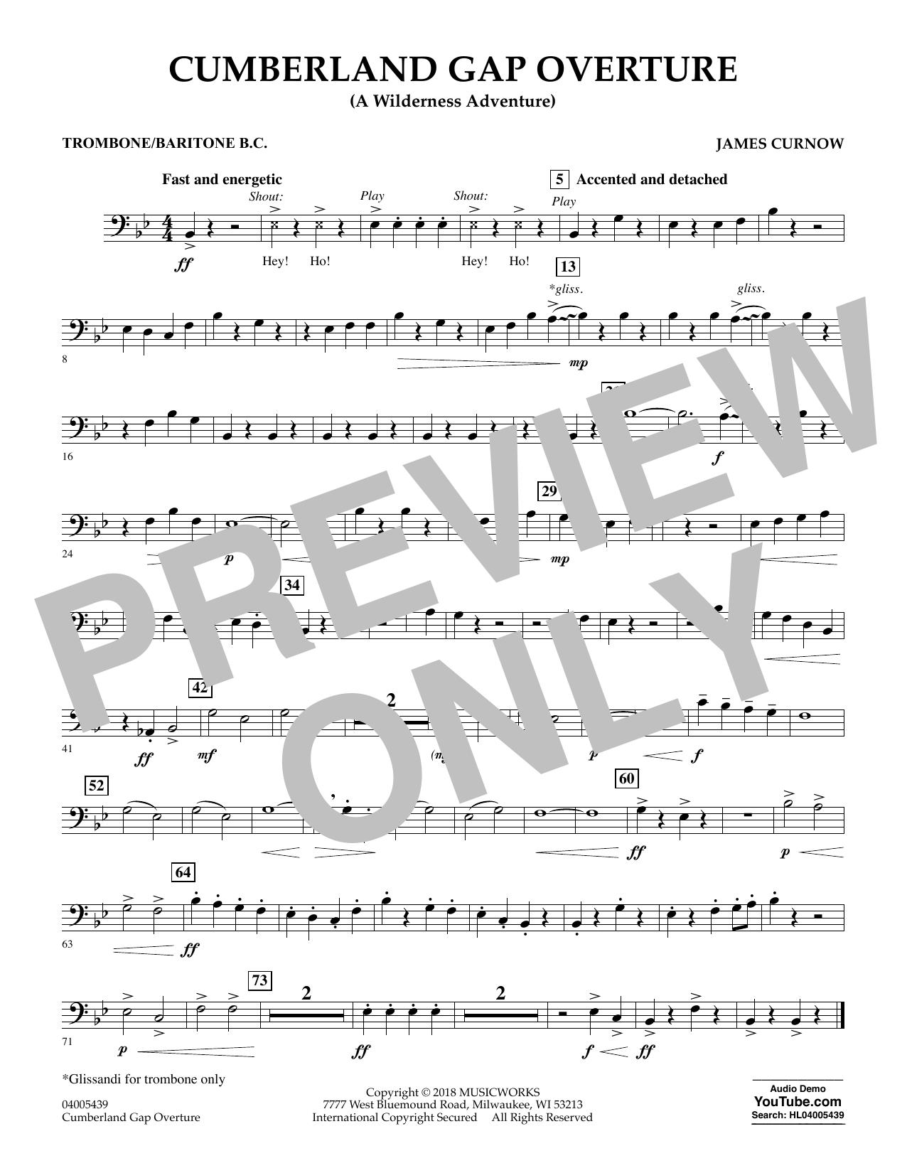 Cumberland Gap Overture (A Wilderness Adventure) - Trombone/Baritone B.C. (Concert Band)