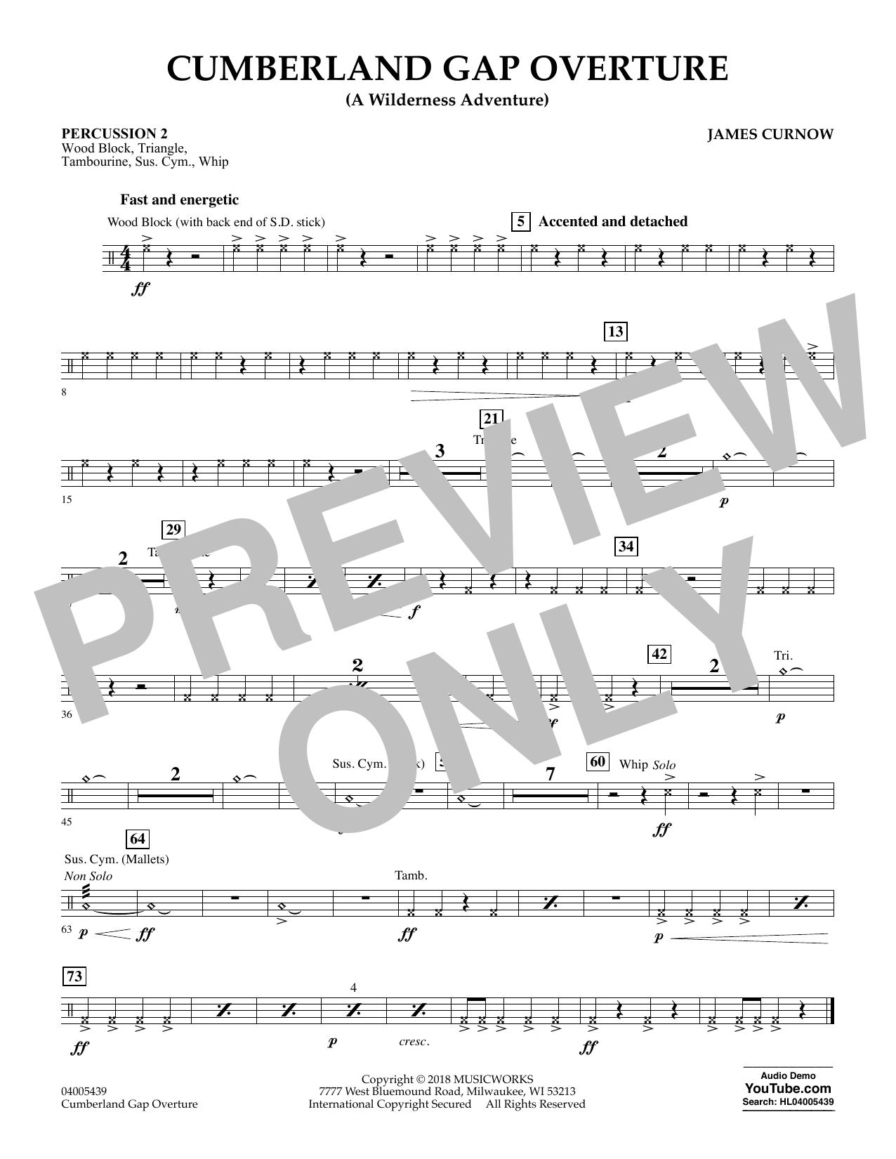 Cumberland Gap Overture (A Wilderness Adventure) - Percussion 2 (Concert Band)