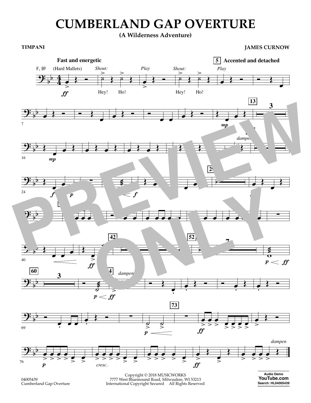 Cumberland Gap Overture (A Wilderness Adventure) - Timpani (Concert Band)