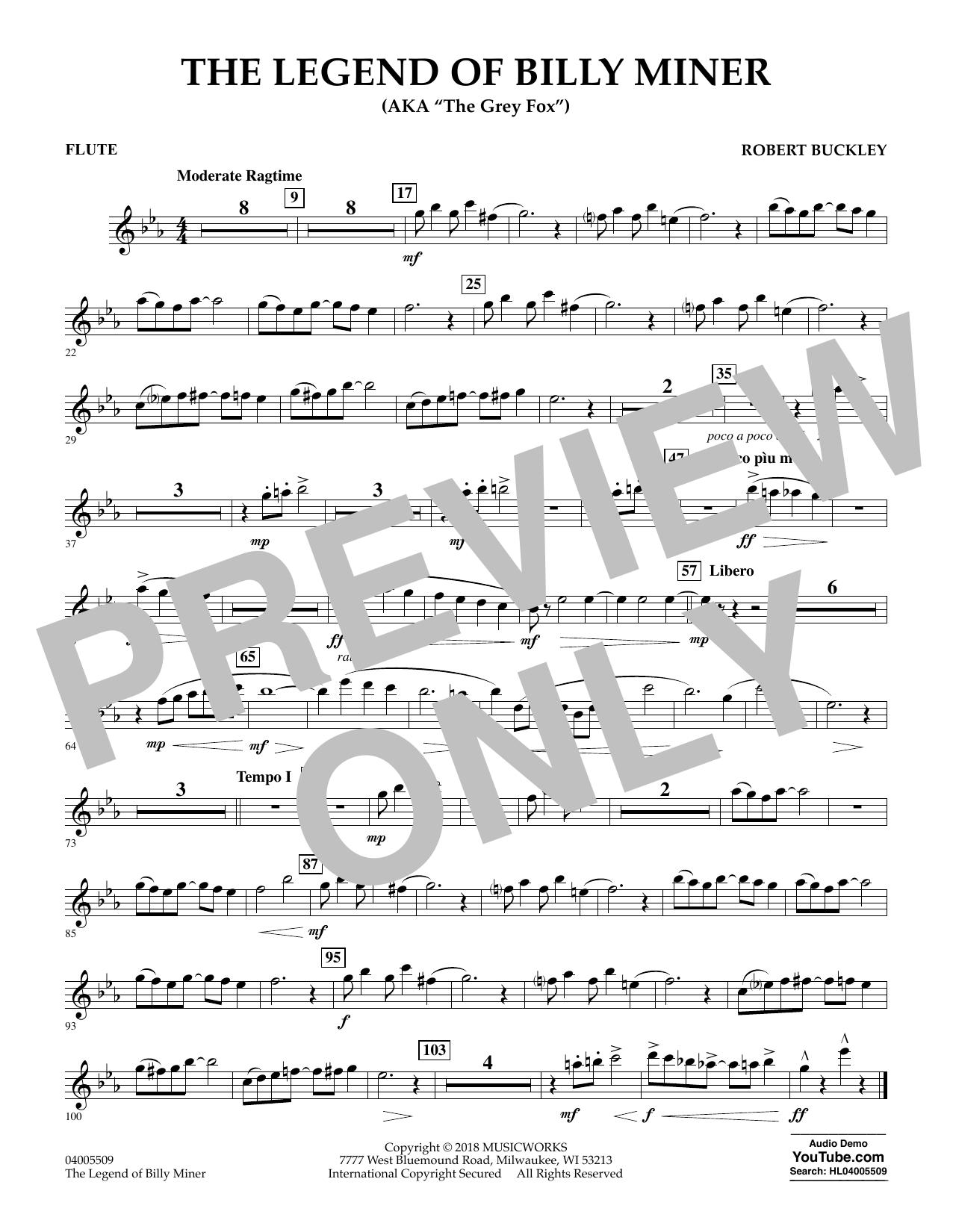 The Legend of Billy Miner - Flute (Concert Band)