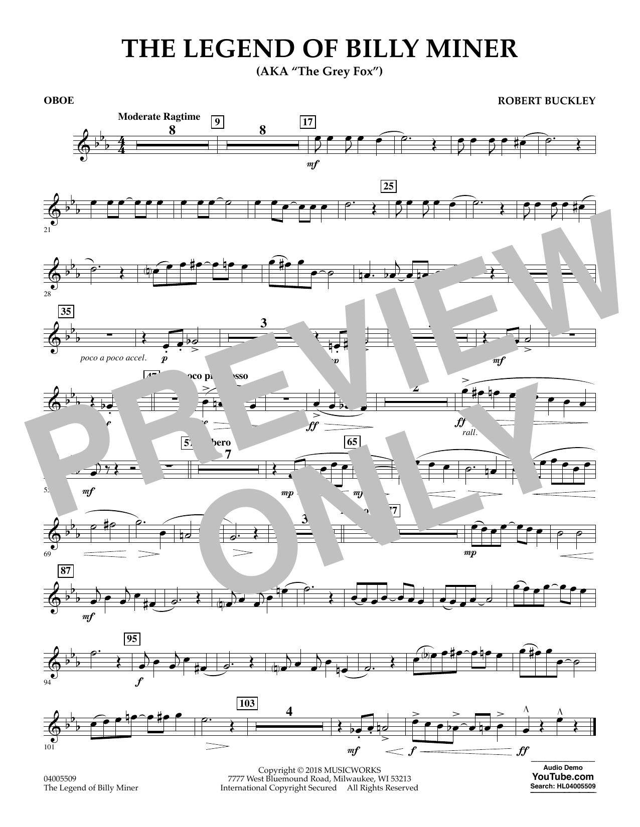 The Legend of Billy Miner - Oboe (Concert Band)