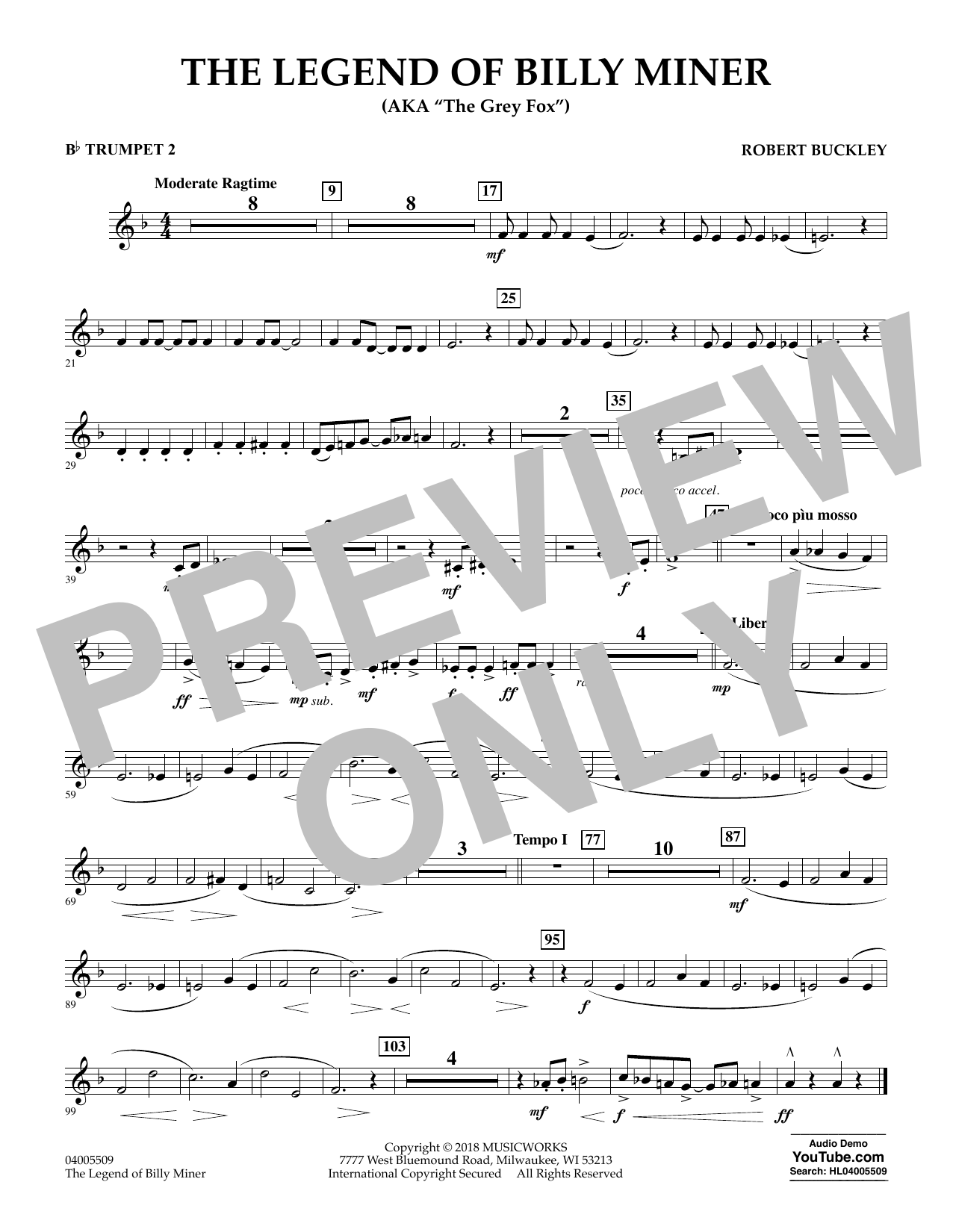 The Legend of Billy Miner - Bb Trumpet 2 (Concert Band)