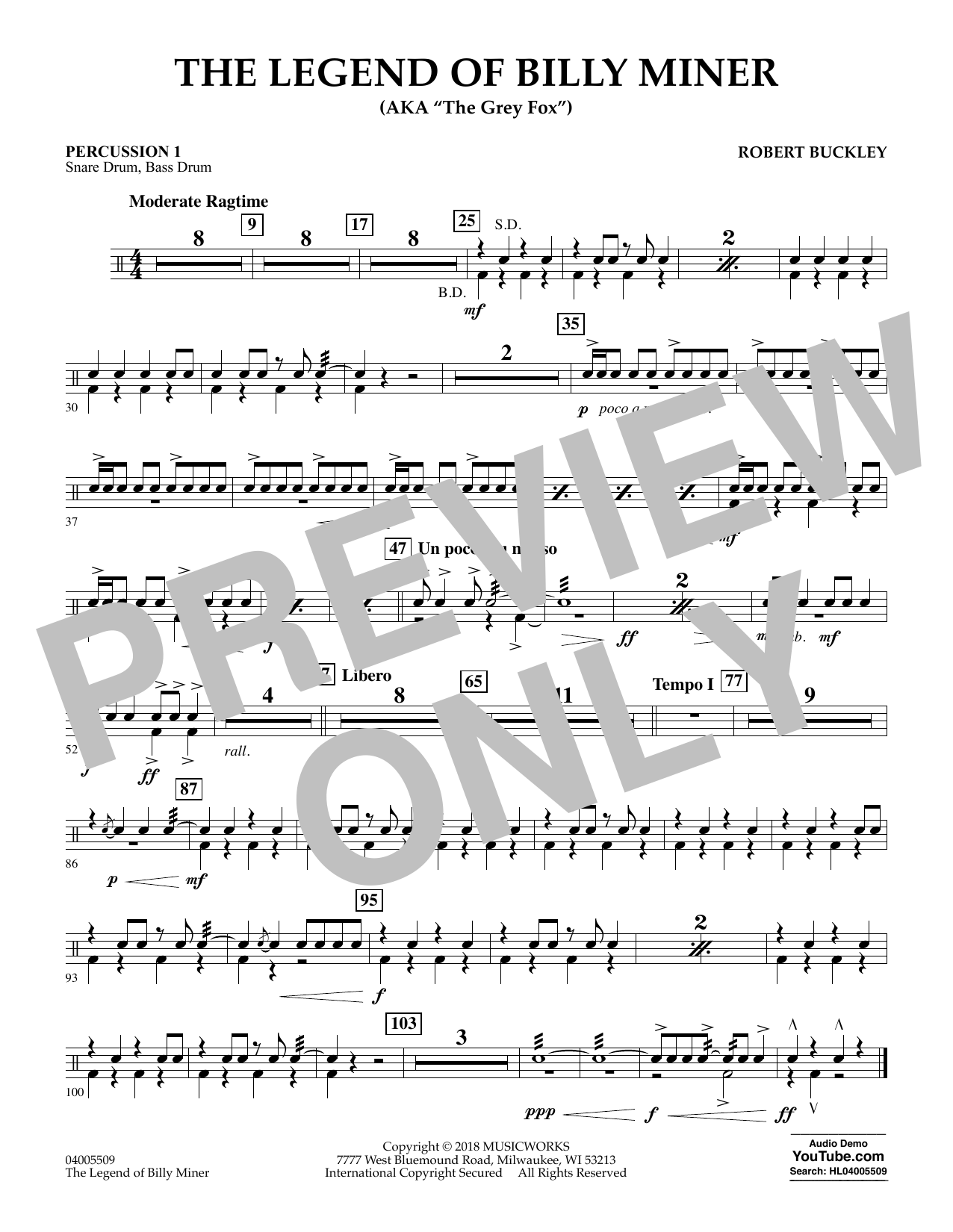 The Legend of Billy Miner - Percussion 1 (Concert Band)