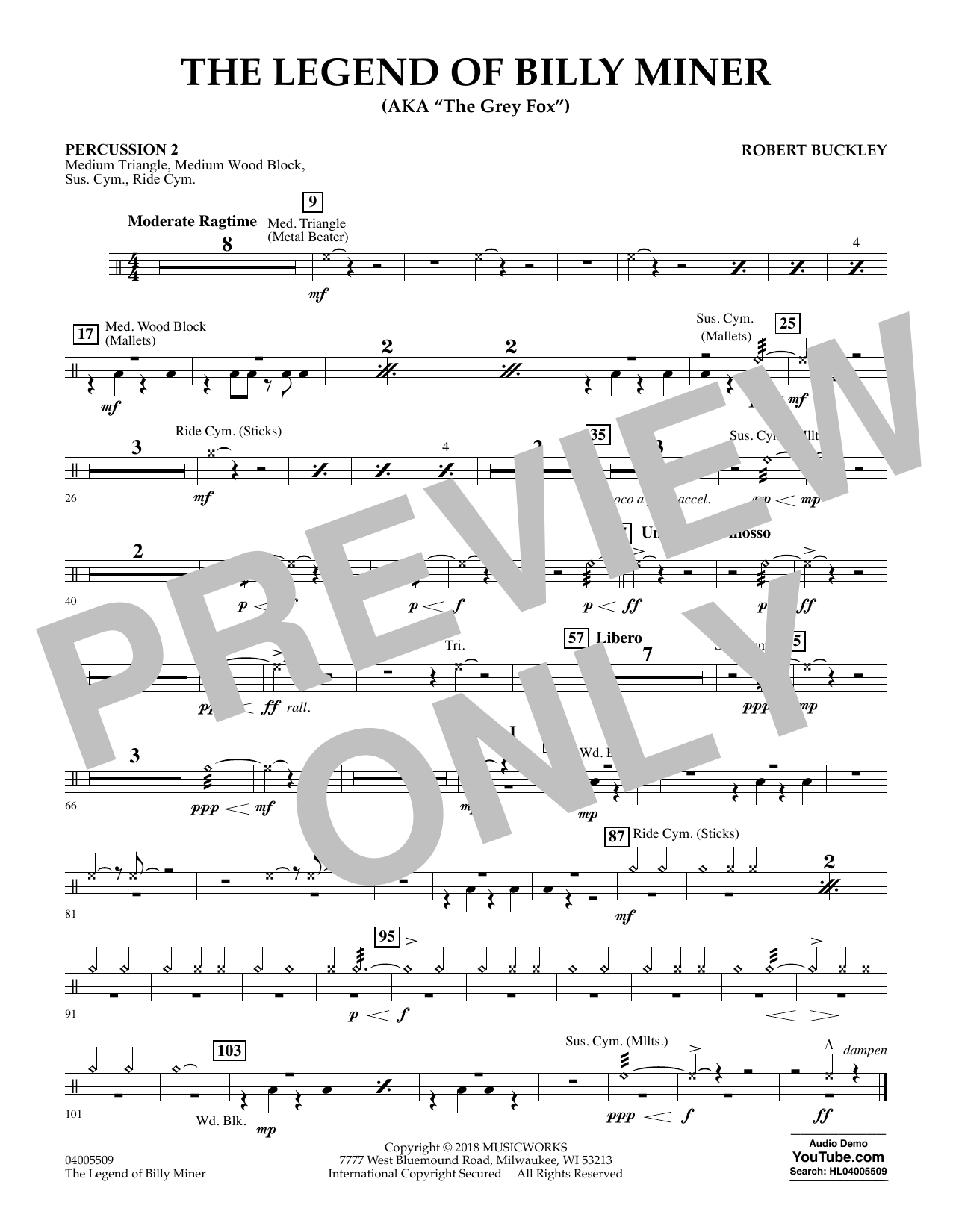 The Legend of Billy Miner - Percussion 2 (Concert Band)