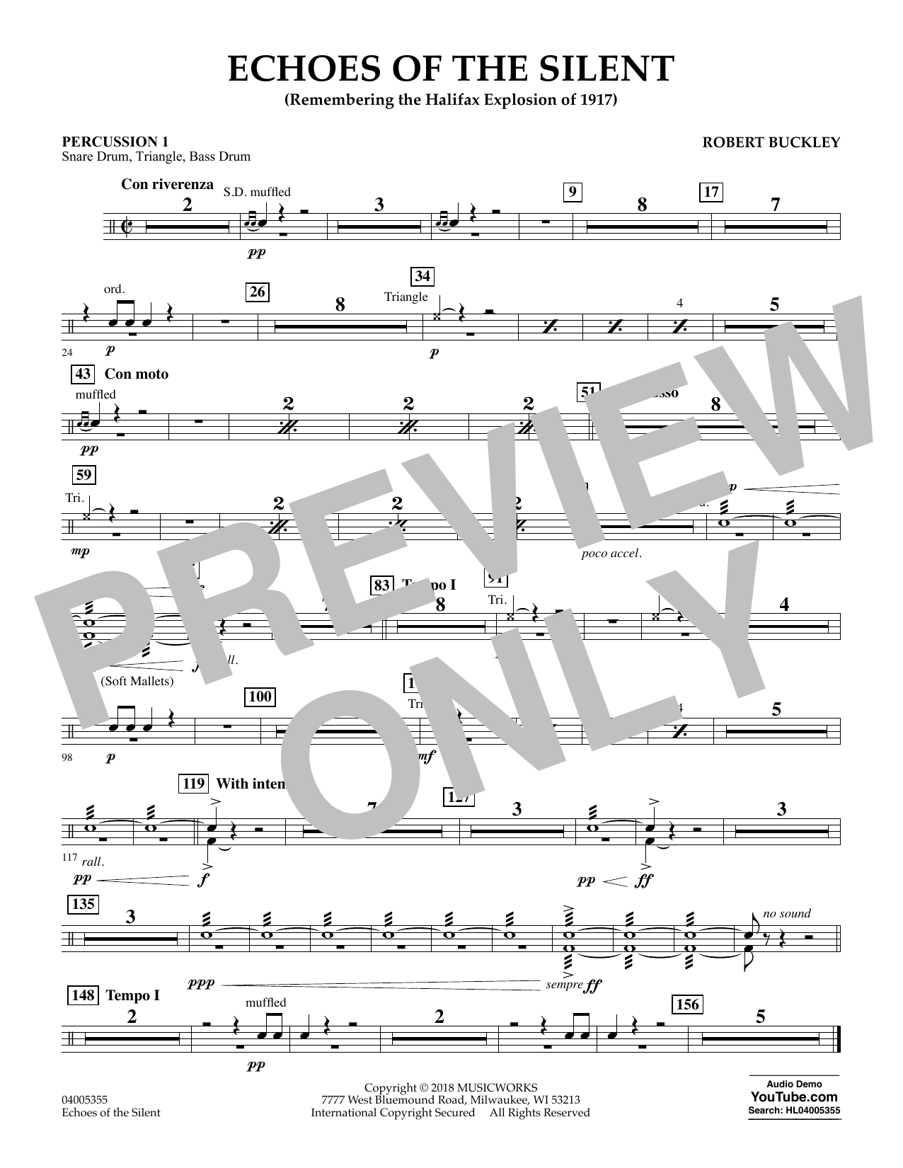 Echoes of the Silent - Percussion 1 (Concert Band)