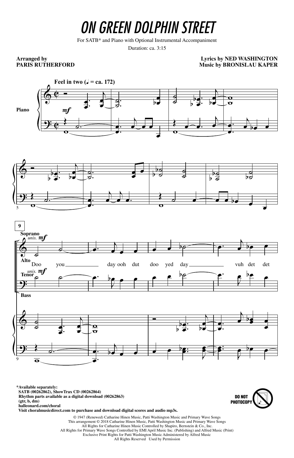 On Green Dolphin Street (SATB Choir)